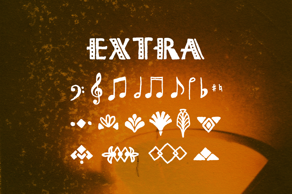 Octave's extra glyphs included with the font. Designed by Lauren Hodges