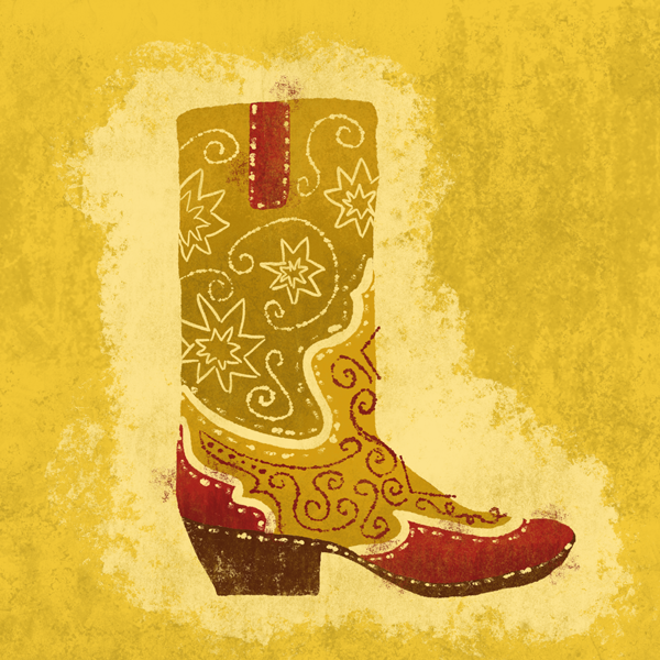 Cowboy Boot by Lauren Hodges. Illustrated entirely with the Saloon Photoshop Brush Collection.