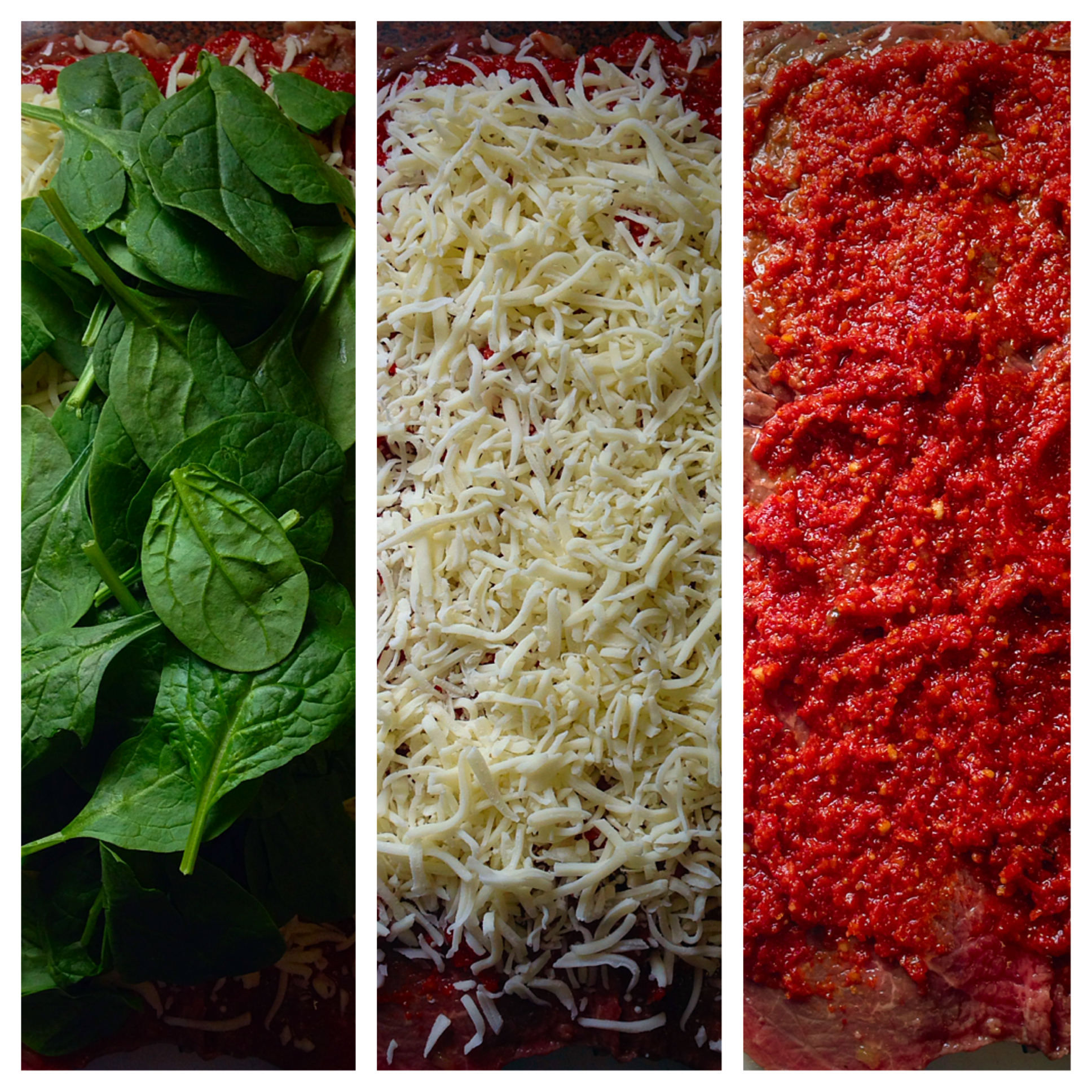 I HAD TO REARRANGE THE PICTURES IN REVERSE TO MIMIC THE ITALIAN FLAG. SO FIRST YOU LAYER ON THE SUN-DRIED TOMATO PESTO, THEN THE MOZZARELLA AND FINALLY THE SPINACH.
