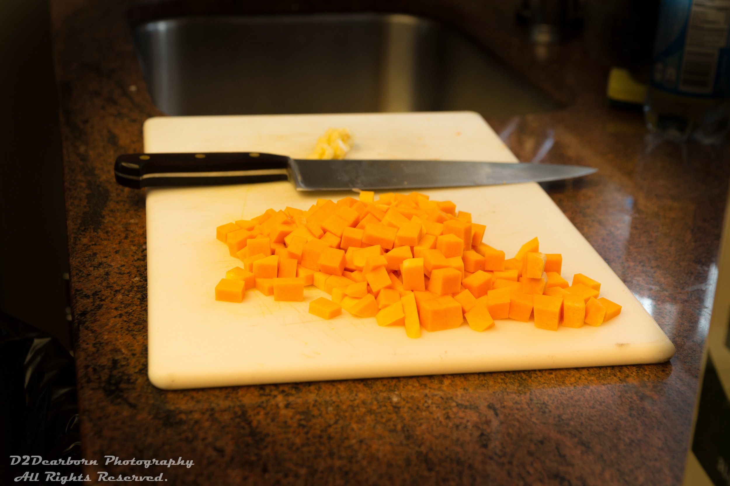 Butternut squash prepped and ready for the frittata!