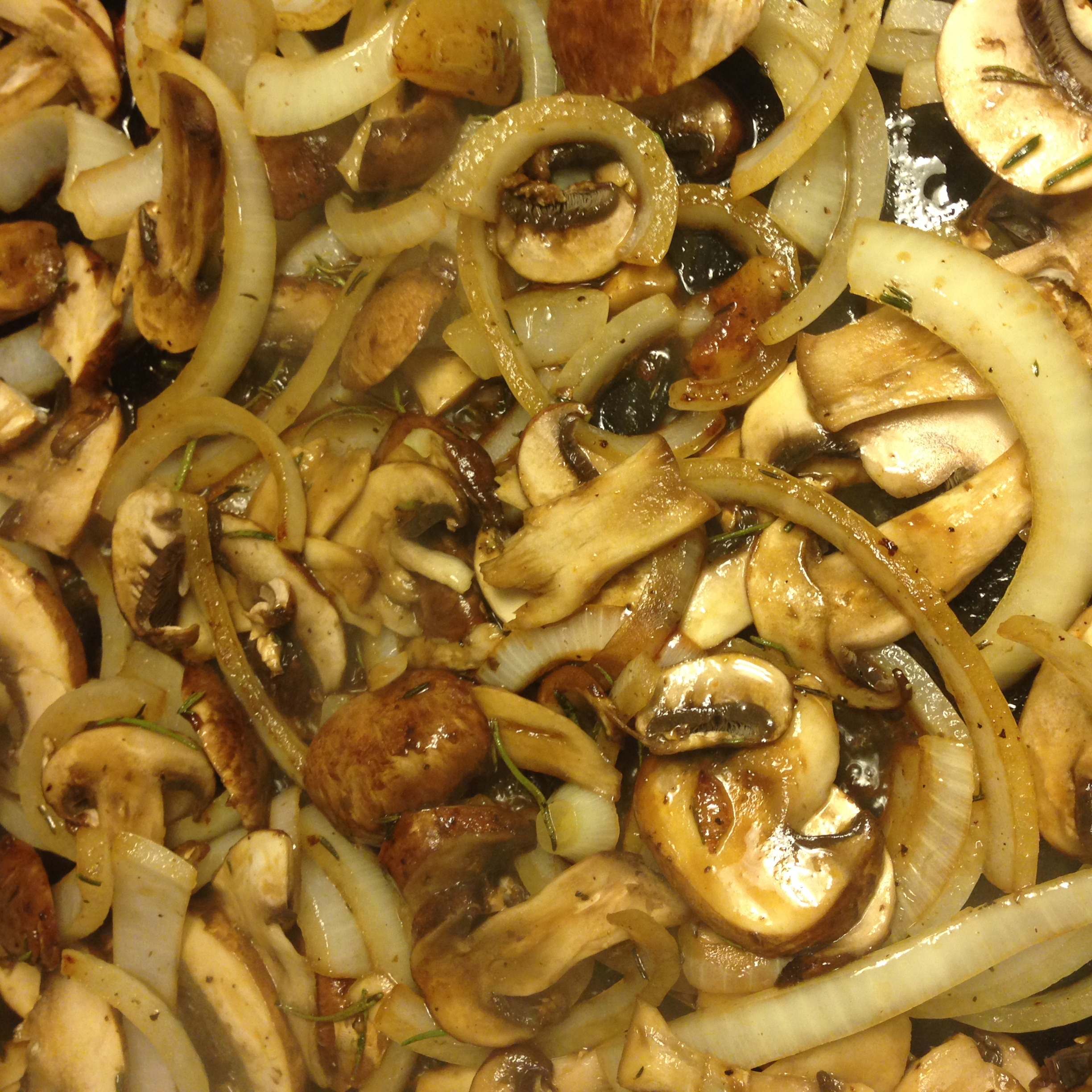 I am convinced mushrooms and onions were created to go along with steaks.  The sweetness of the onion and earthyness of the mushroom get along so well with the rich beefy flavor of steak.