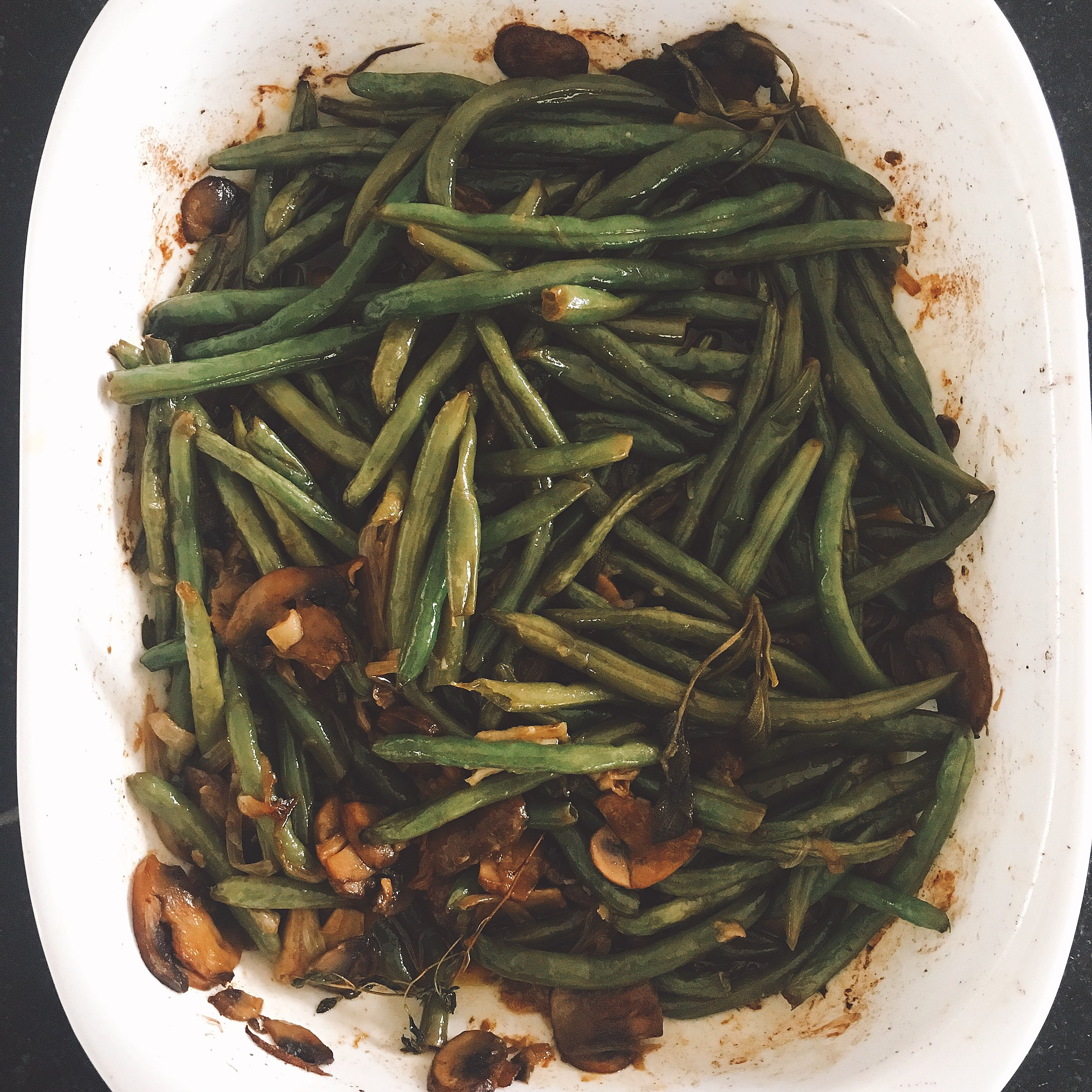 The green beans, mushrooms and shallots…..without the fat, preservatives and calories!