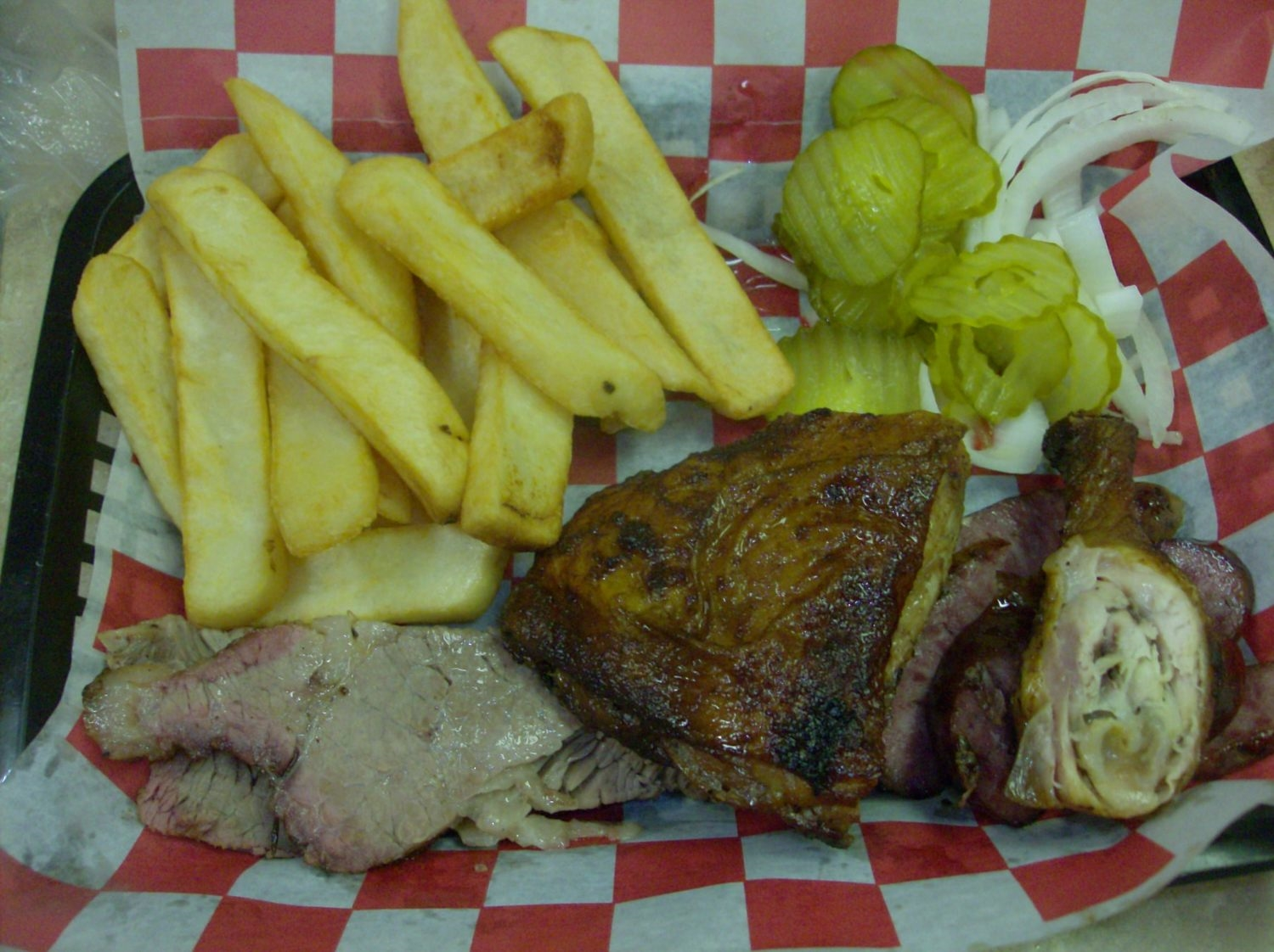 Bar-B-Que Plate (three meat: Brisket, Chicken and sausage) with Fries