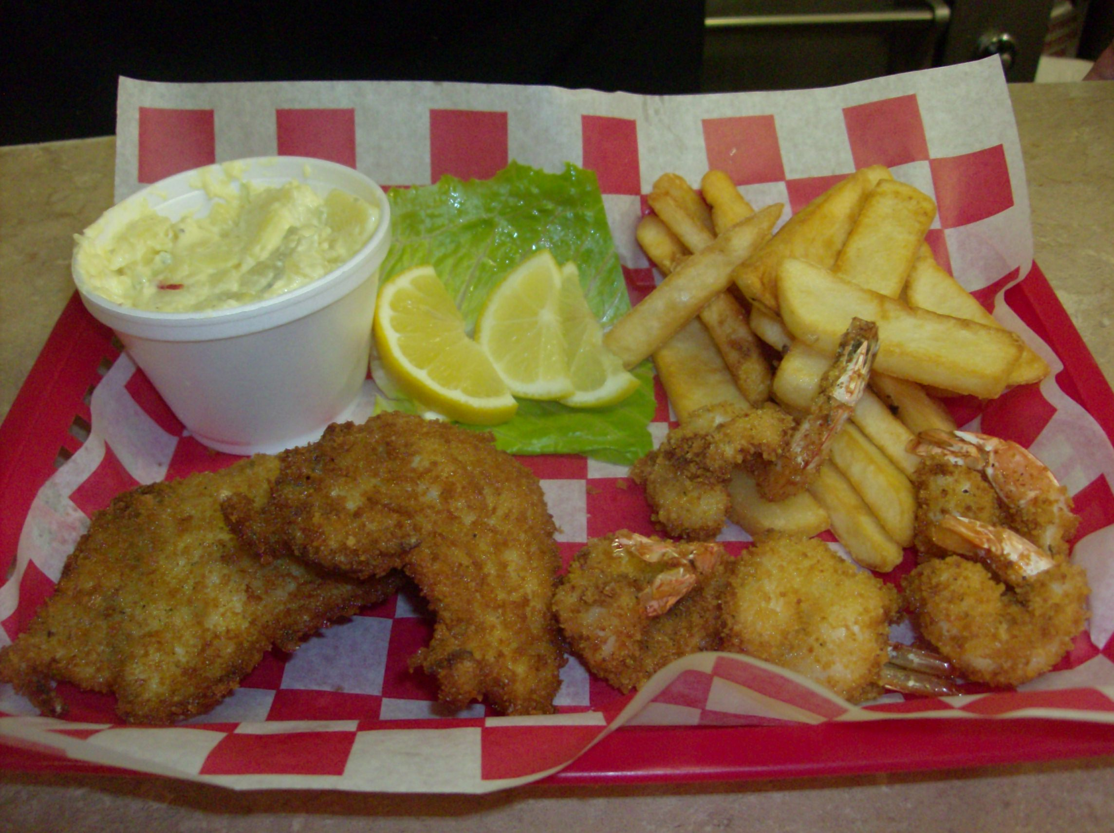 Seafood Combination Plate with Fries and Potato Salad