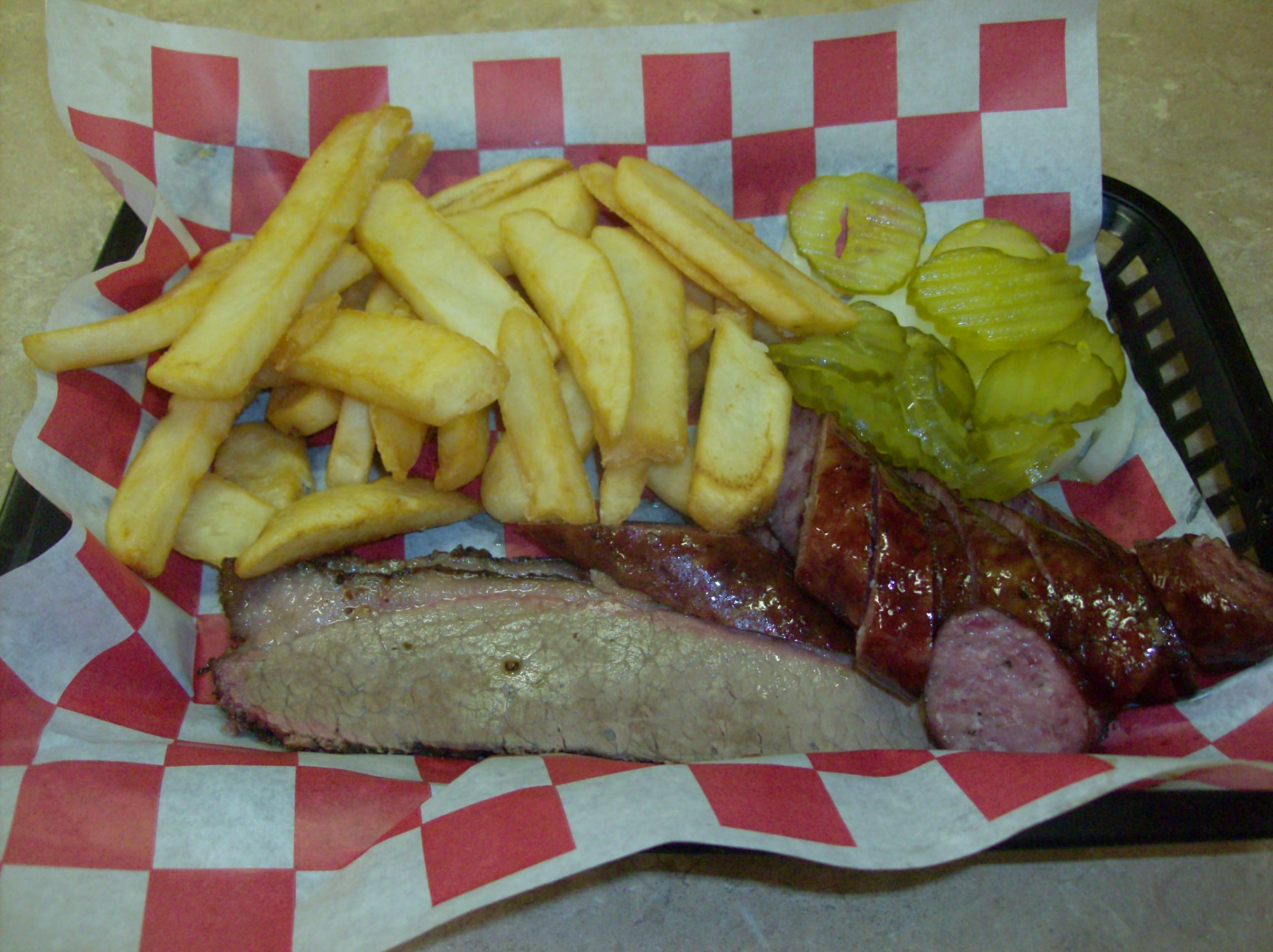 Bar-B-Que Plate (two meat: Brisket and Sausage) with Fries
