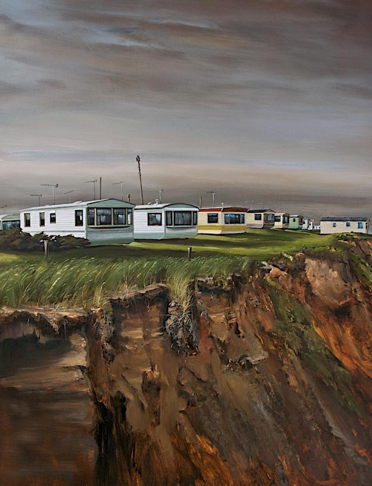 Caravan Painting coastal erosion Julian Perry