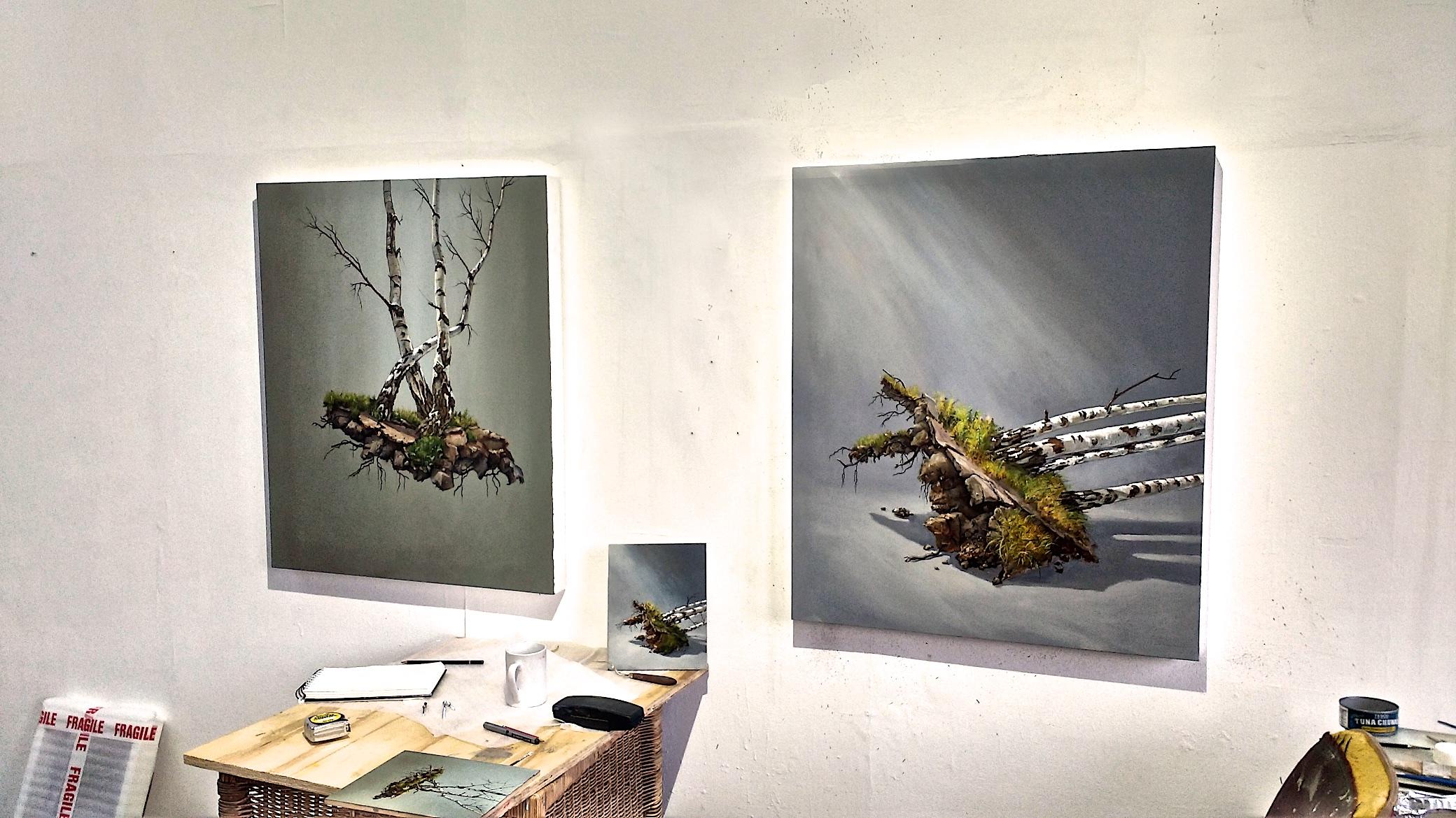 Studio June 2017 new works: Top lit Birches left and Fallen Tree.