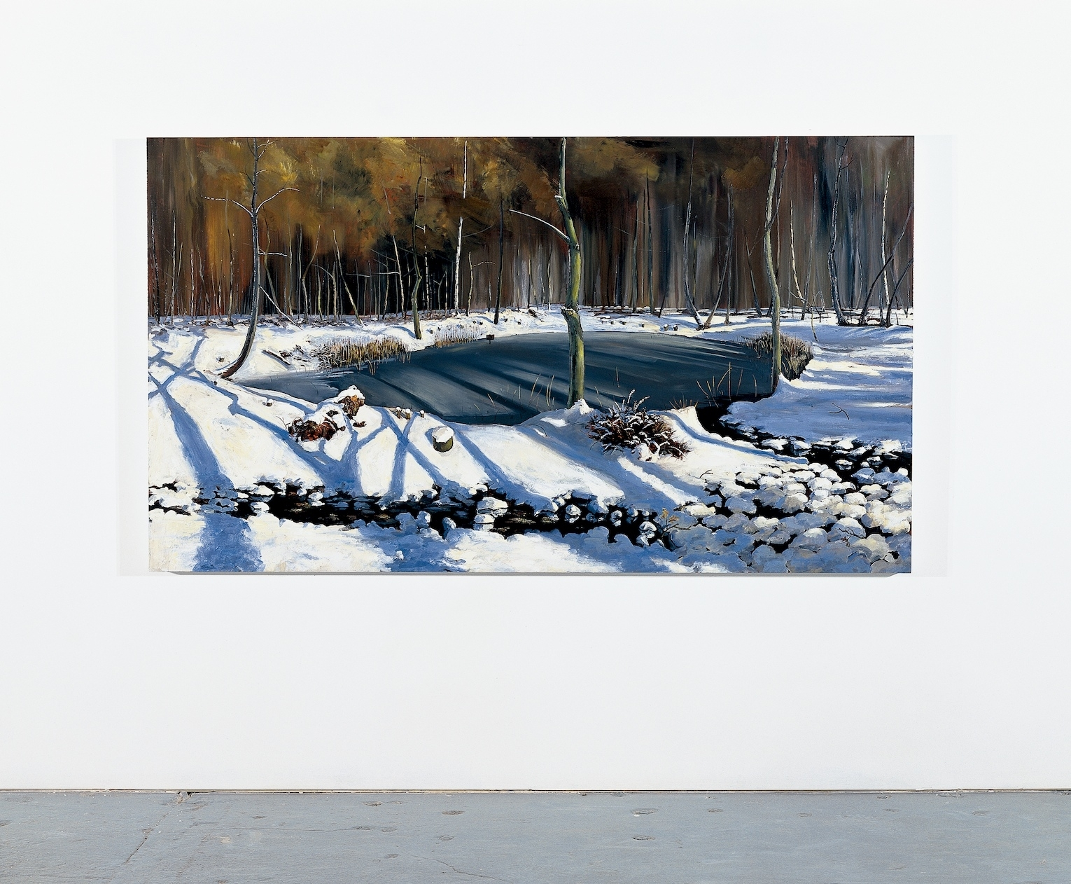 Rocket Crater Pond in Snow II  2004 Oil on panel 122.5 x 215cm (collection of London Guildhall Art Gallery)