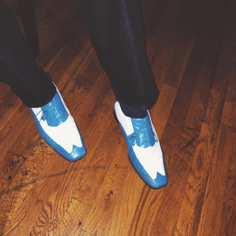 "Michael ""Hawkeye"" Herman's  spiffy blues shoes"