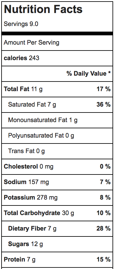 carob brownie nutrition facts