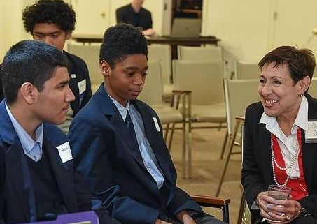Sarah with students at The Dallas Institute of Humanities and Culture