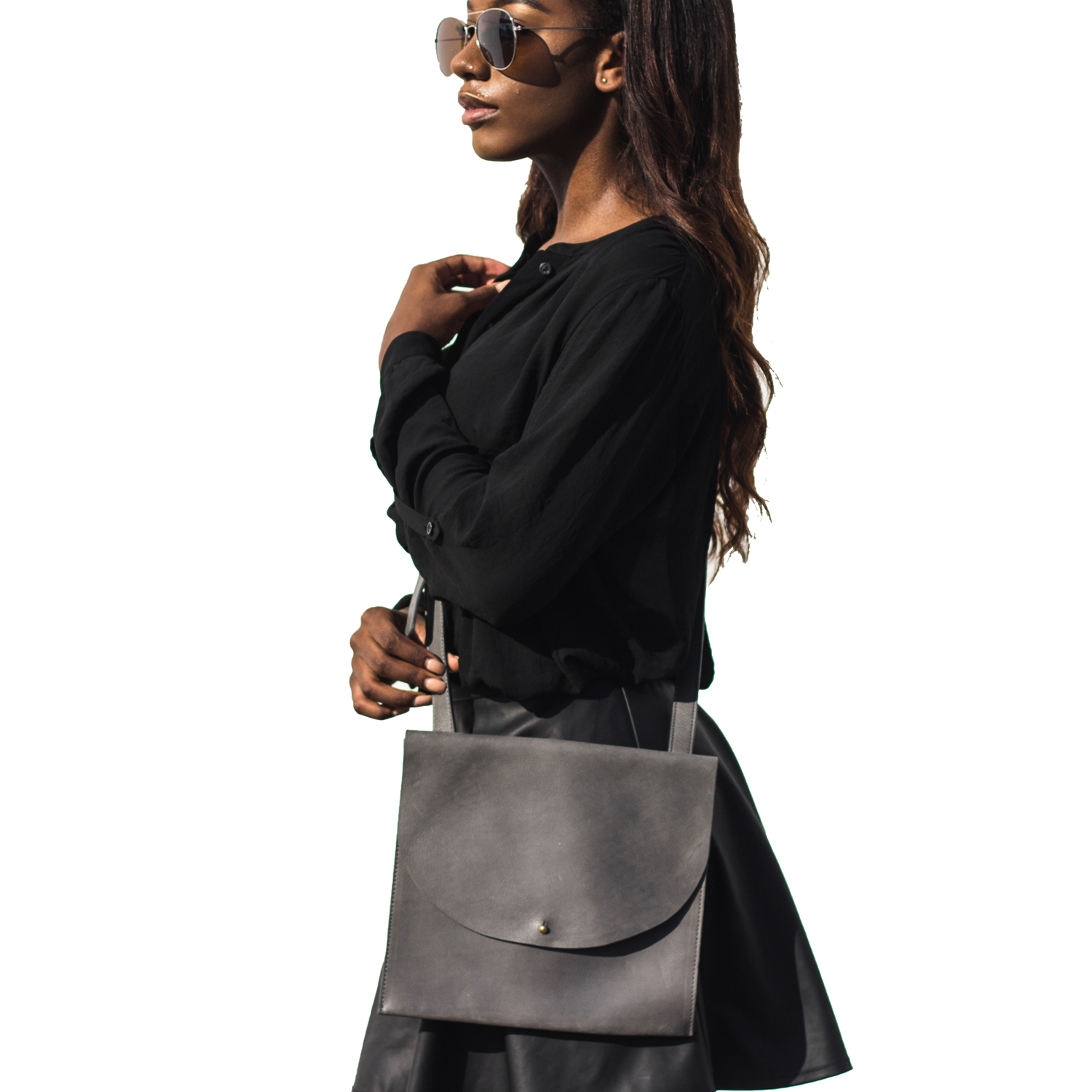 Gray Large Crossbody ,  MyFight  $88  *use code  SUSTAINABLYCHIC20  for 20% off*