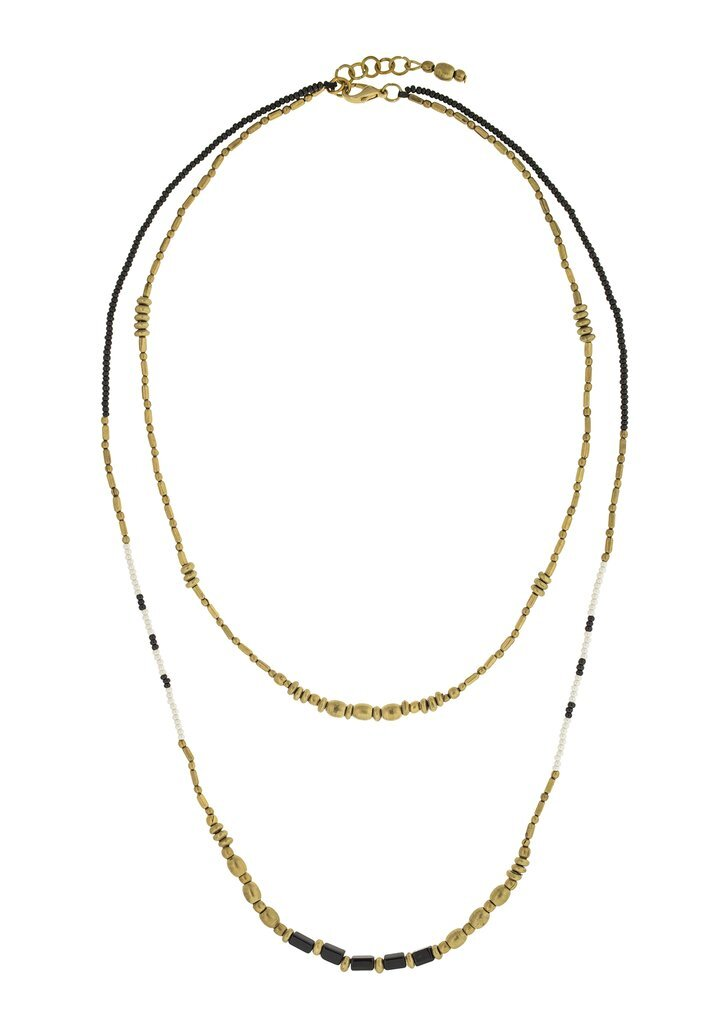 The Waverly Layered Necklace  in Black and Brass