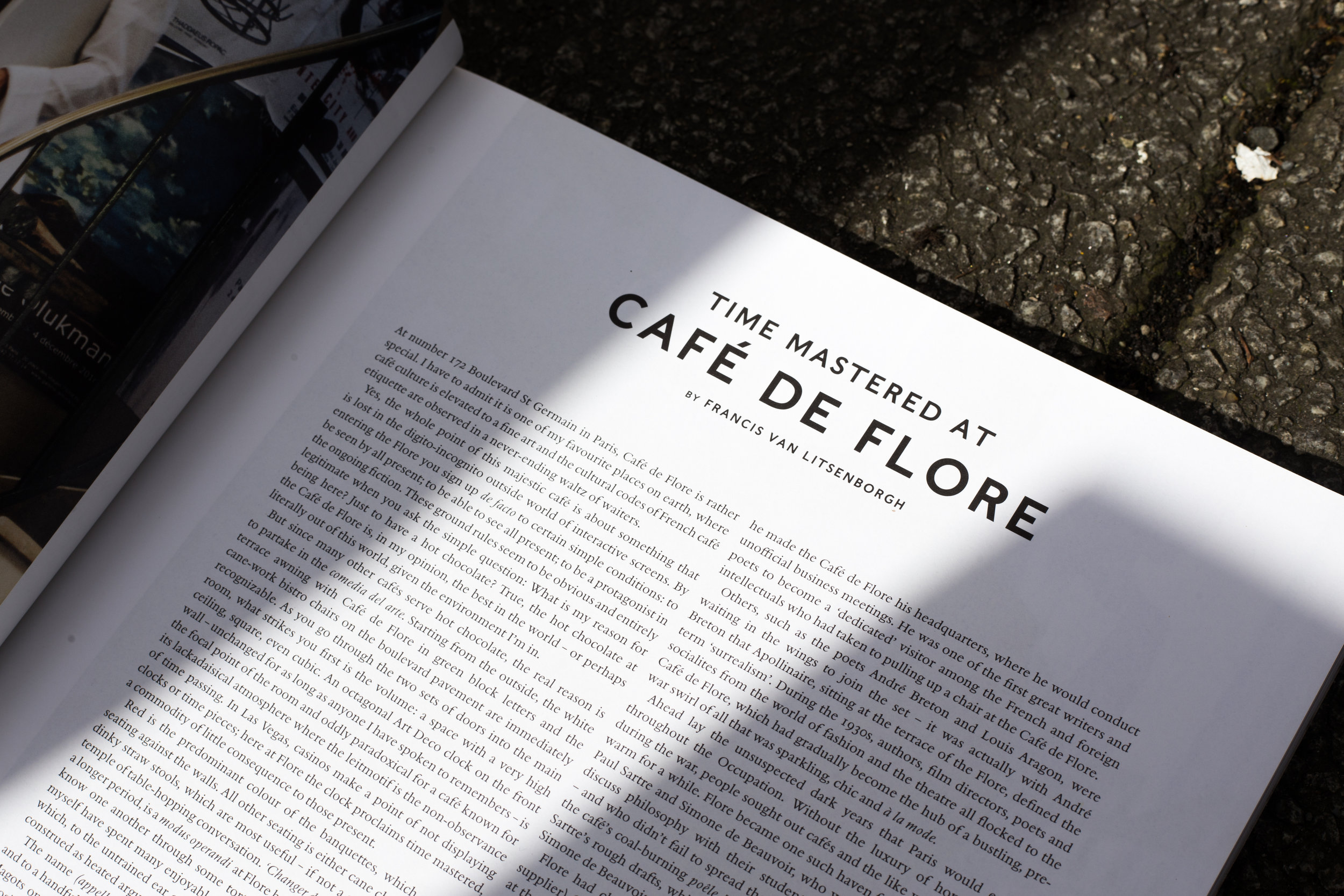 Luncheon magazine,Spring/Summer 2017.The iconic hotspot Café de Flore was named after a statue across the road and over its lifespan has houses both literary and fashion celebrities