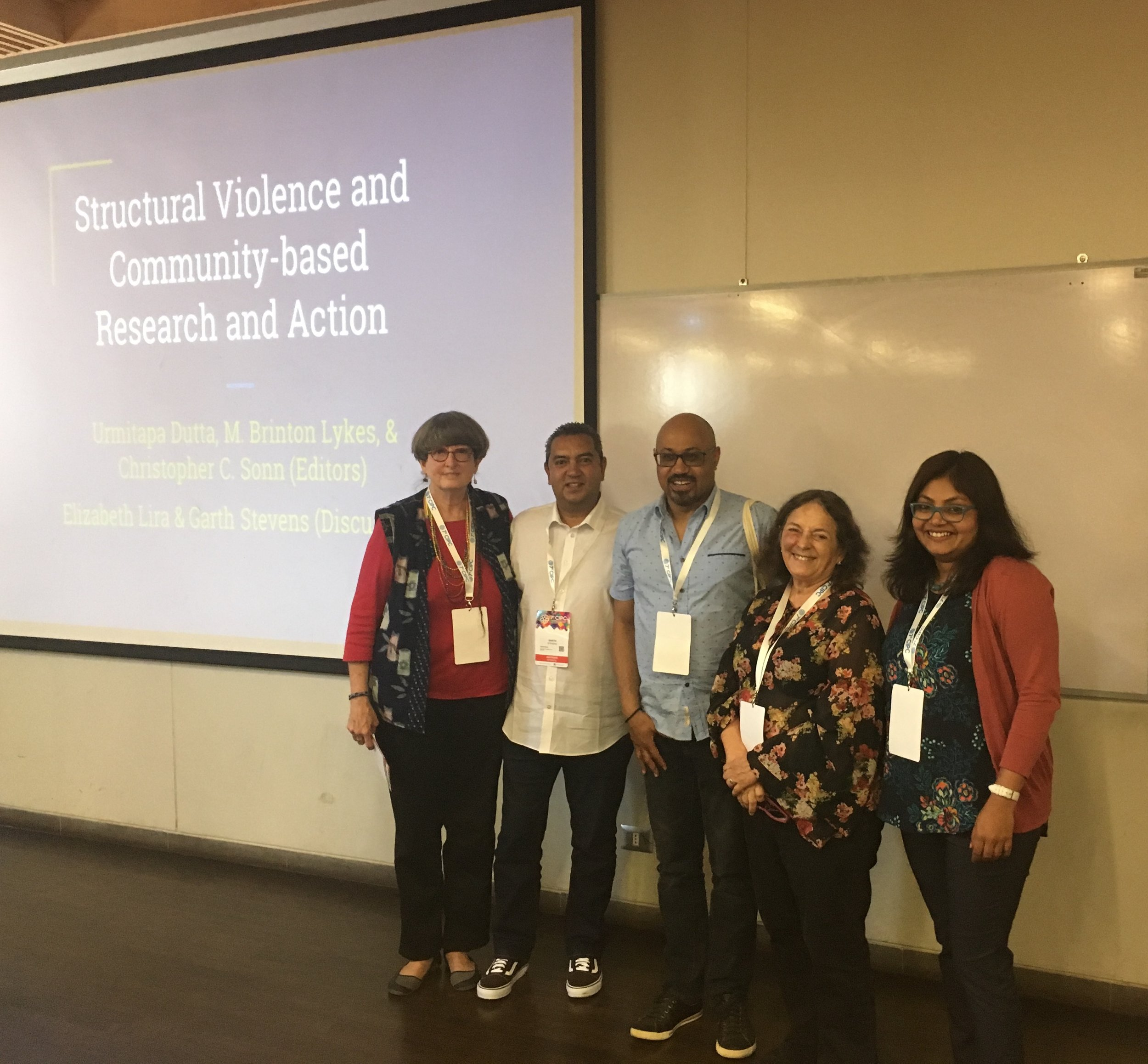 Session featuring the special issue of  Community Psychology in Global Perspective  on structural violence (2018 International Conference of Community Psychology) - With M. Brinton Lykes, Garth Stevens, Christopher Sonn, & Elizabeth Lira