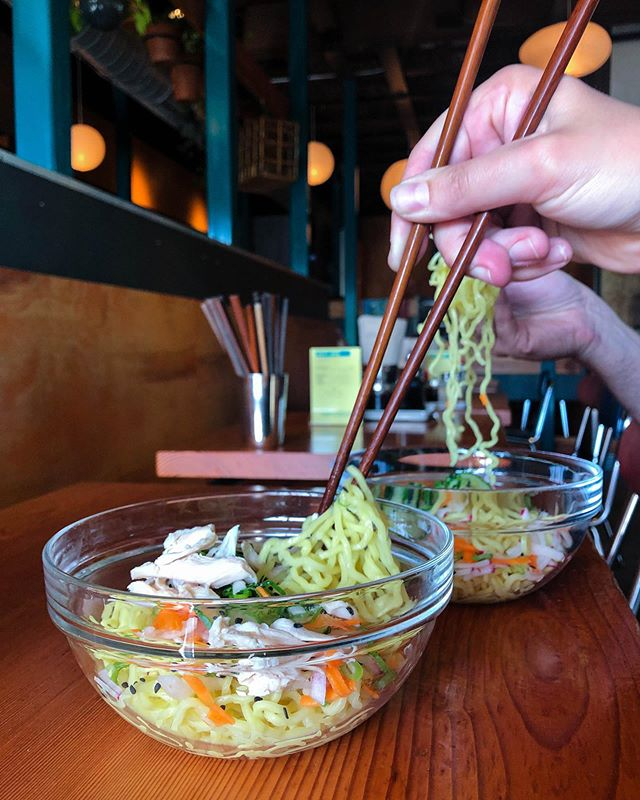 Cool bouncy noodles, crisp veggies, zippy dressing. Hiyashi Ramen Salad. So refreshing! It's so right now! ^..^ #summerramen  #pdxjapanese  #ramenlife  #eatmoreramen