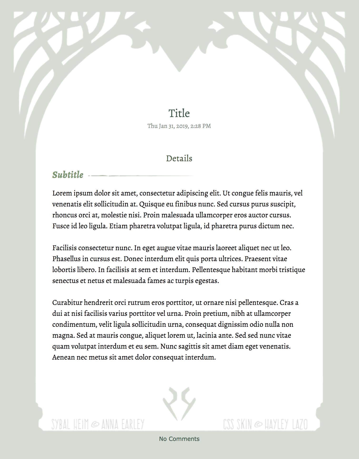 Sybal Heim Literature/Journal CSS Skin
