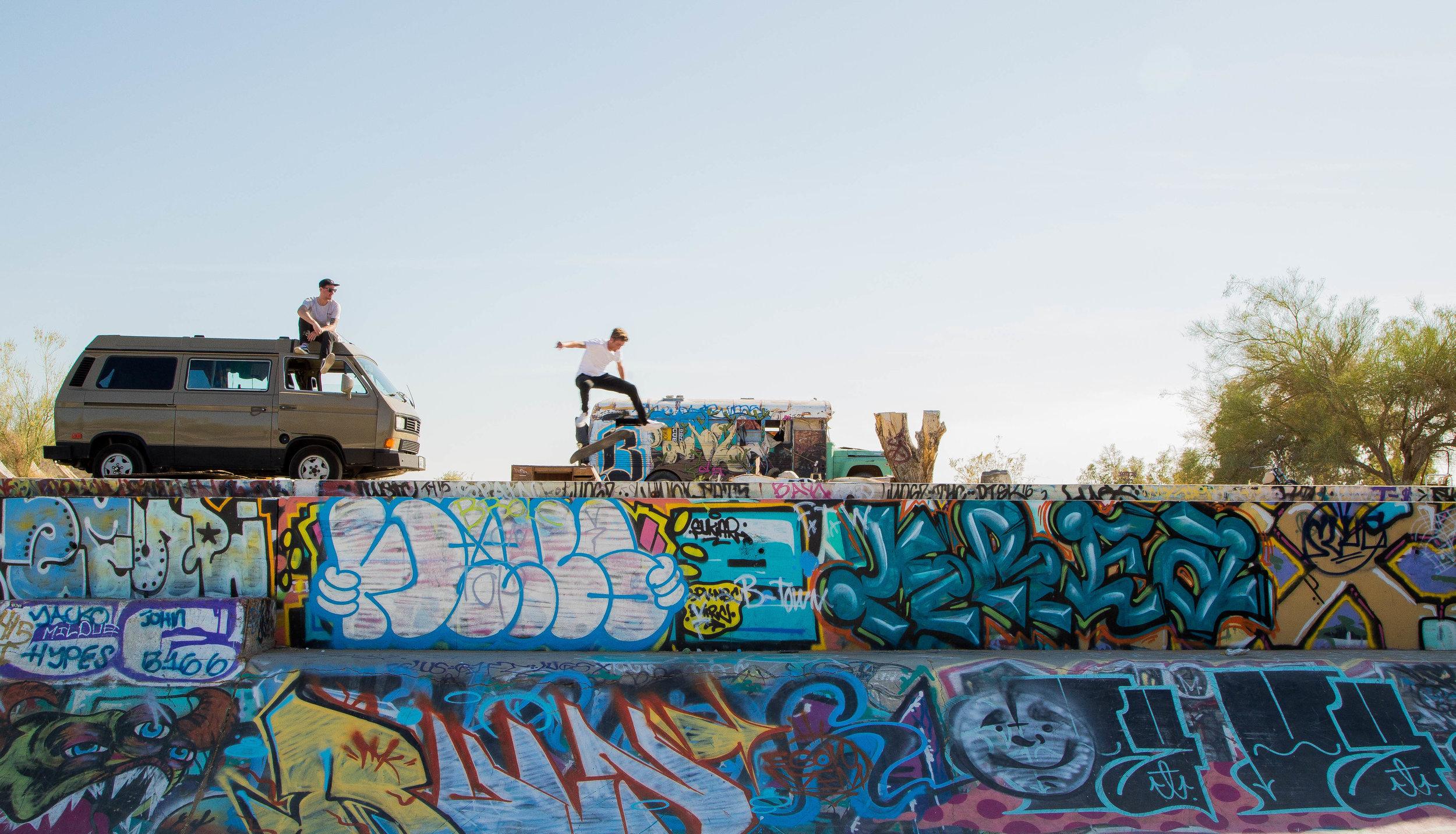 Kickflipin' in Slab City, California, Photo: Rachel Heisel