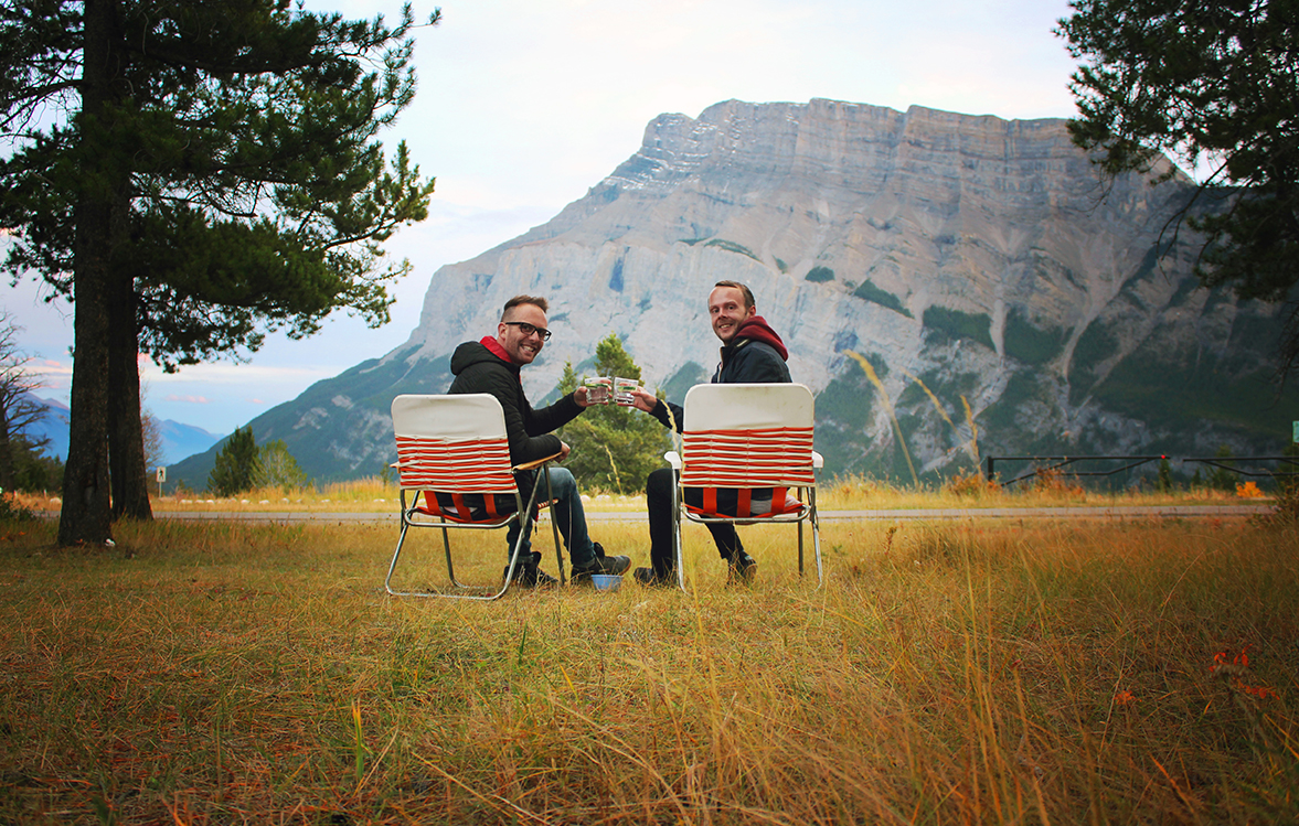 Our traditional happy hour! This one in front of the Canadian Rockies in Banff, Alberta