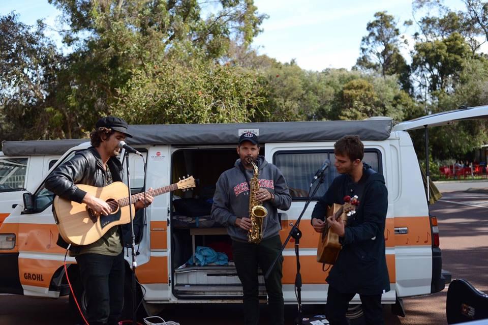 Josh Fergus, Dusty Boots, Adam Harpaz doing pop up gigs along the coast of WA