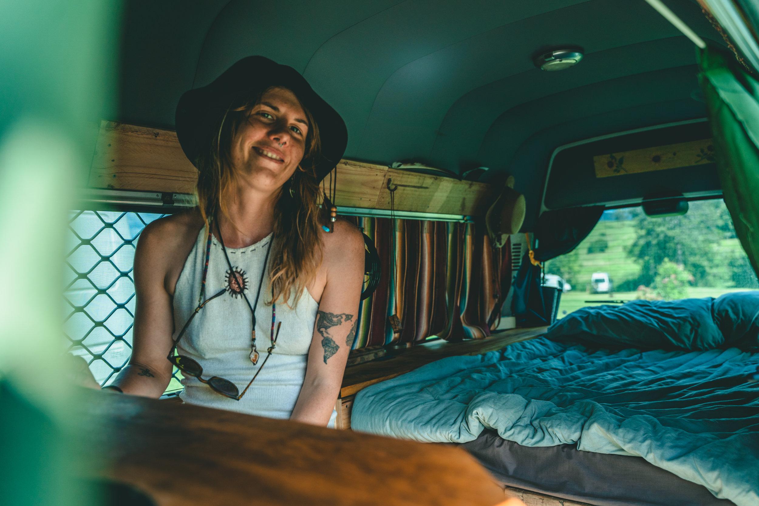 Soph Brock hanging in her van 'Creature'.  Photography -  @alexjamesbowen