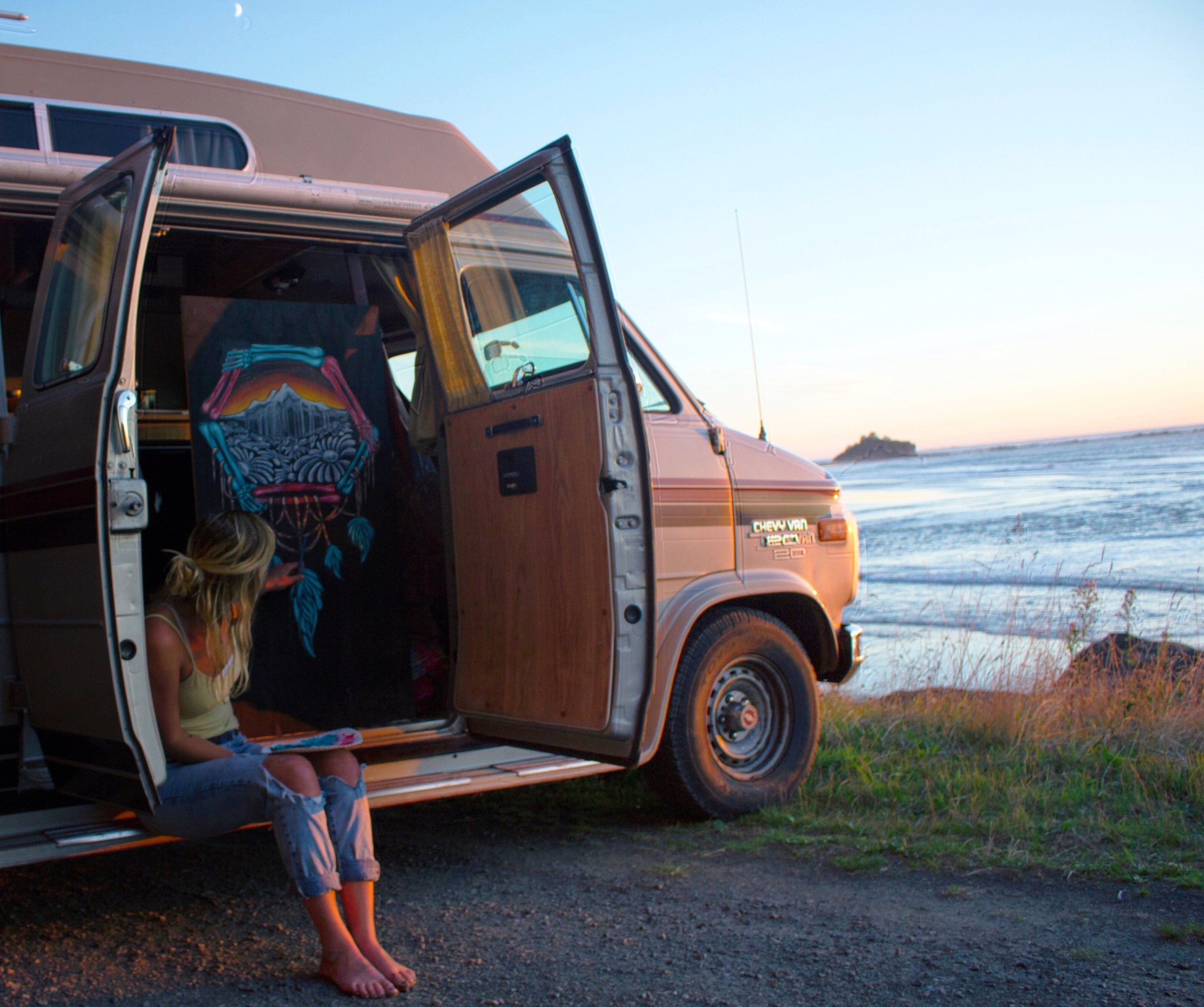 Photo by:  @kory_kirby  Painting and traveling in my first van, Bentley on the coast.