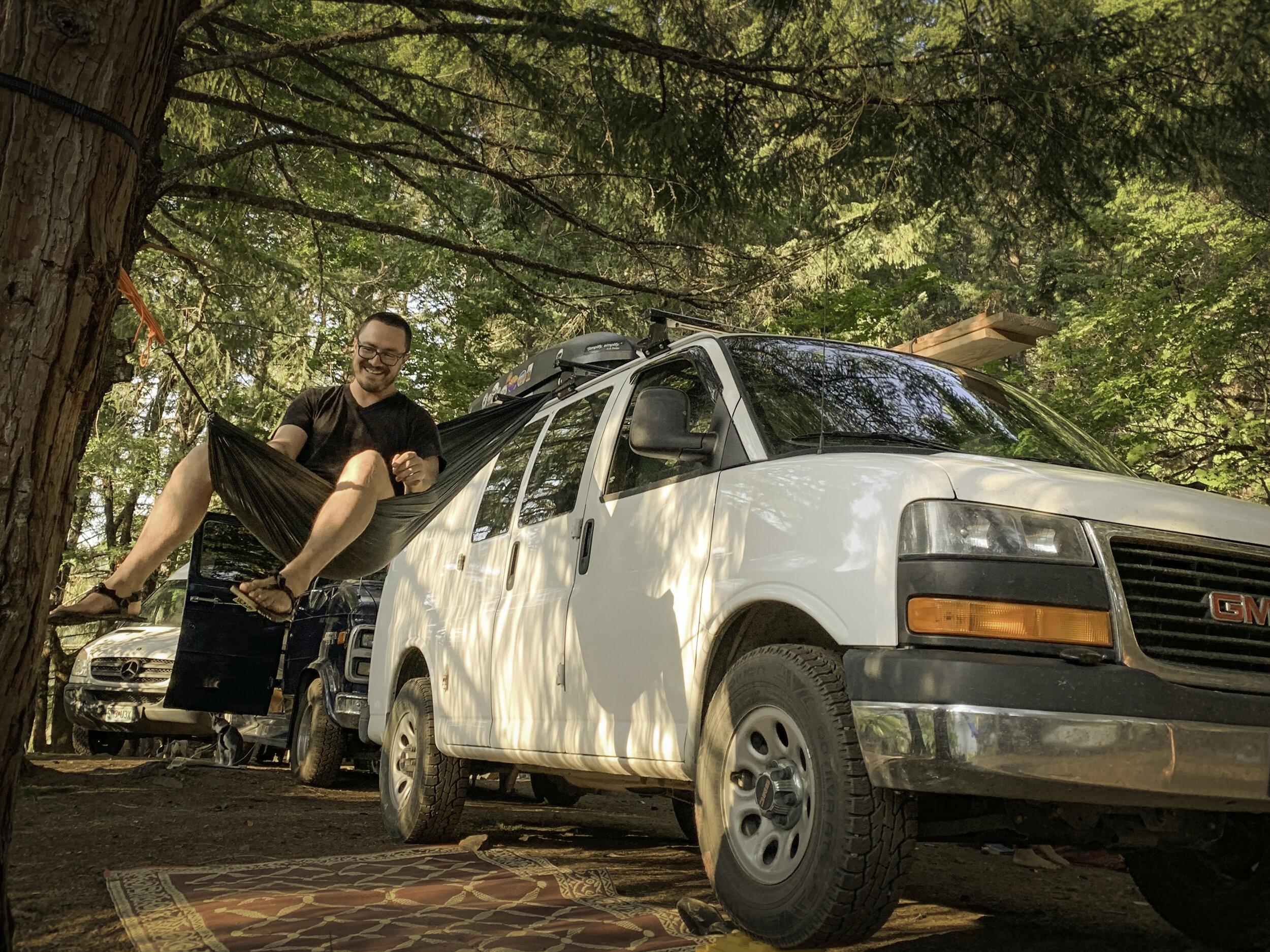 Chris relaxing in a sweet Van/Hammock set up Photo by:  @Kelsidailey