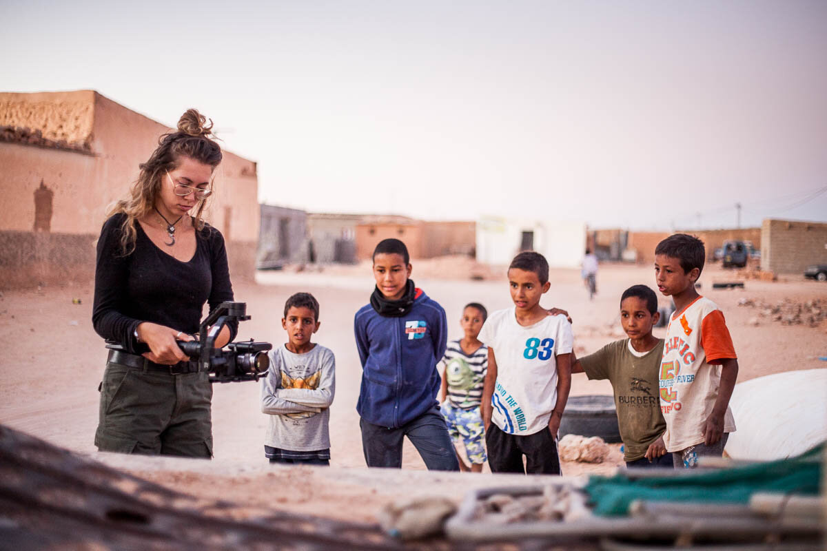 Josy filming in the refugee camps in Algeria