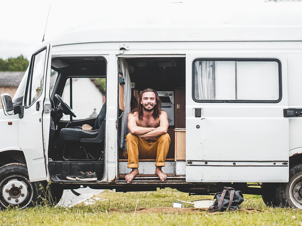 Nathen inside Wizard, the 2001 LDV Convoy they lived in before leaving for New Zealand