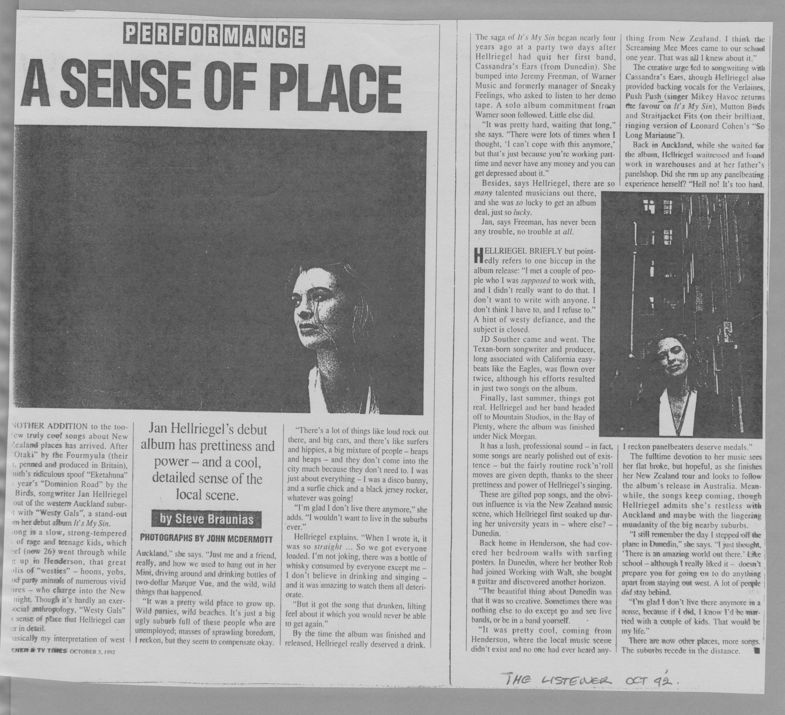 Listener // Steve Braunias - October 1992