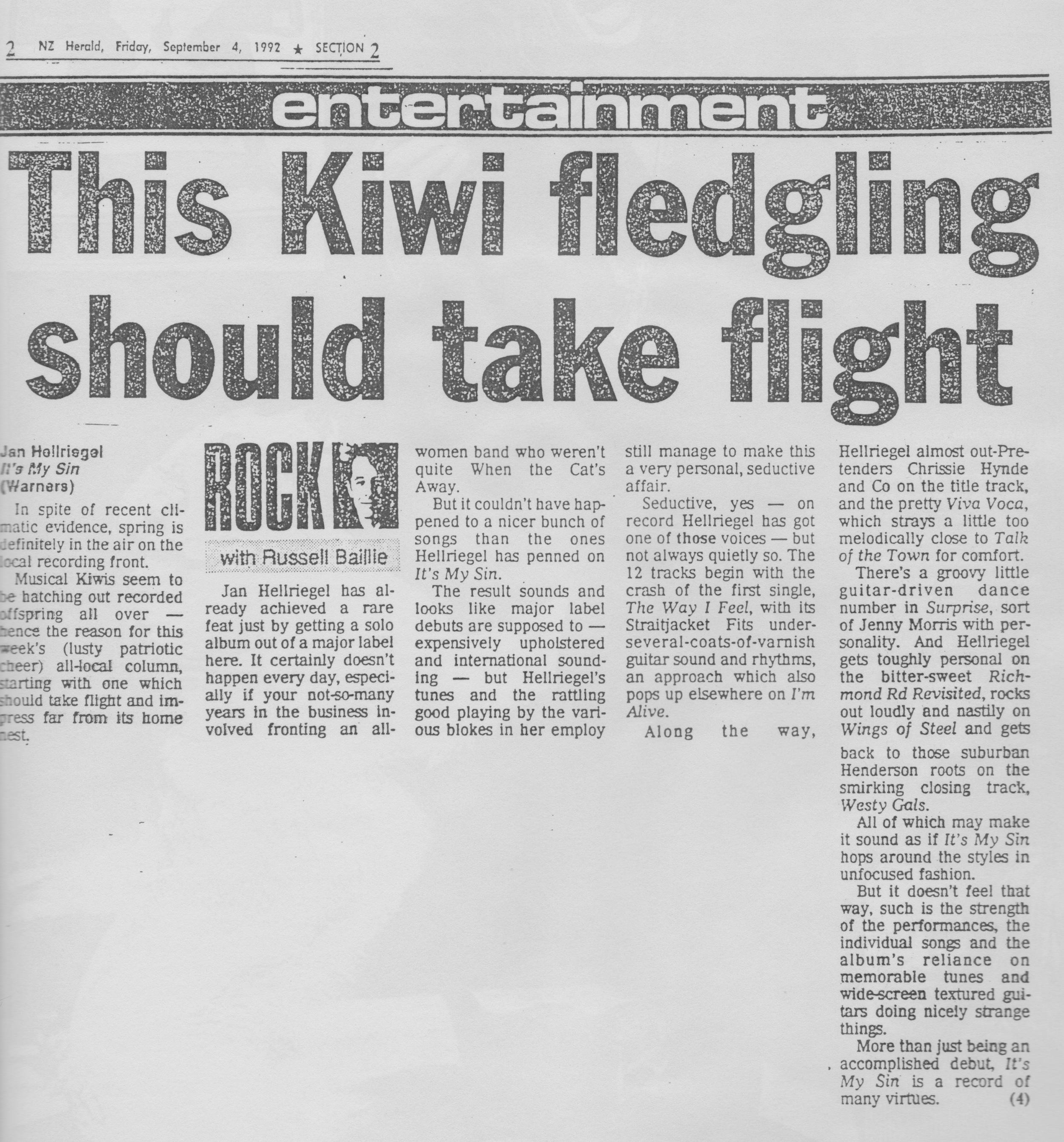 NZ Herald Review // Russell Baillie - September 1992