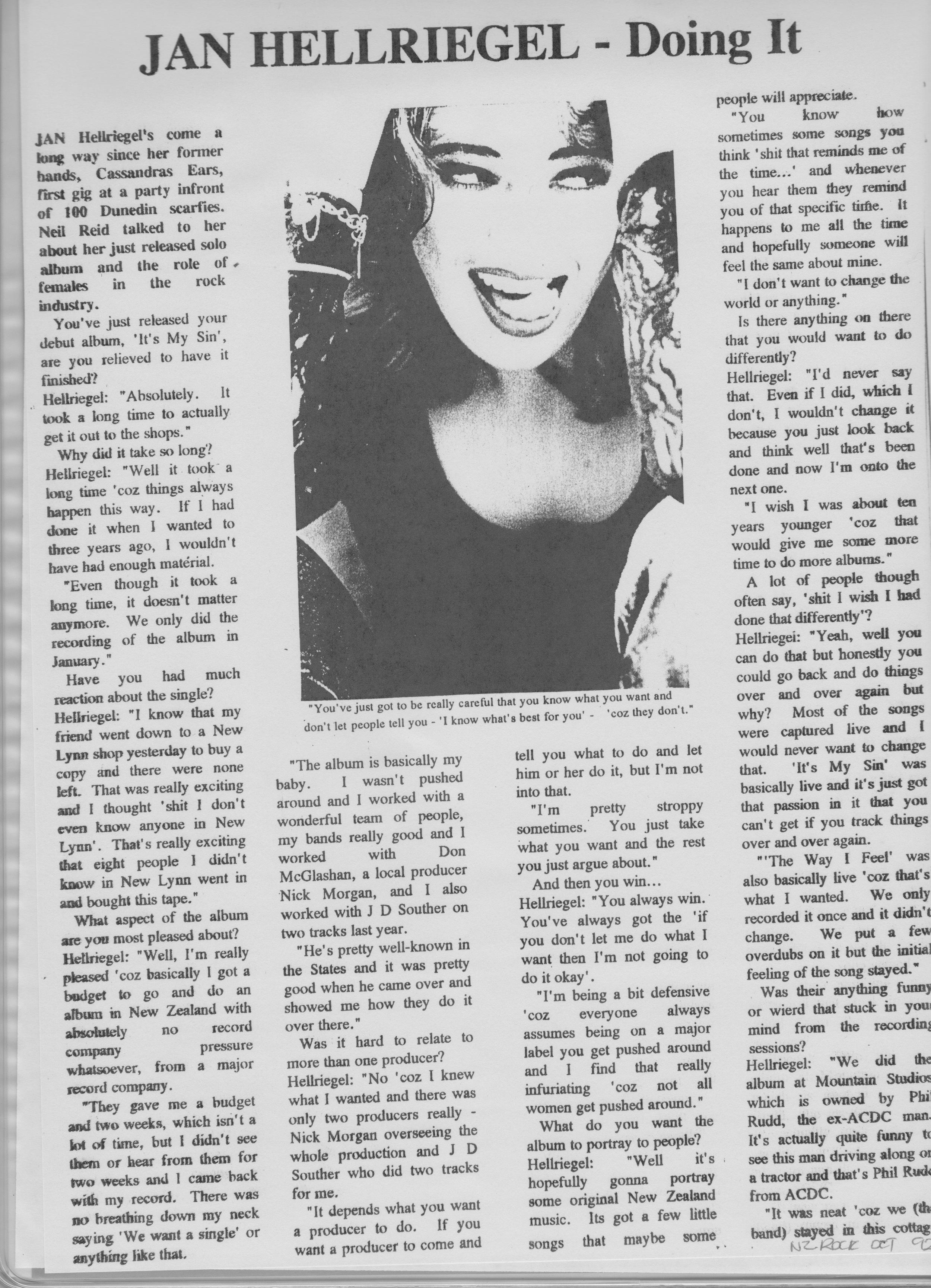 NZ Rock Pg. 1 - September 1992