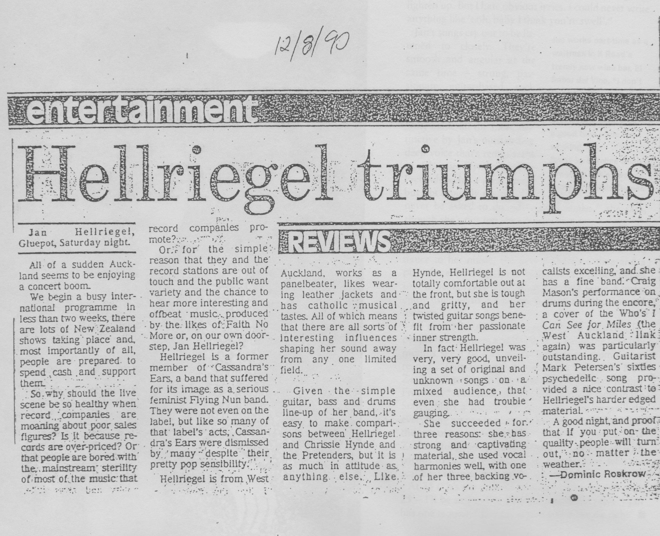 Gluepot Concert Review // Dominic Roskrow - 1990