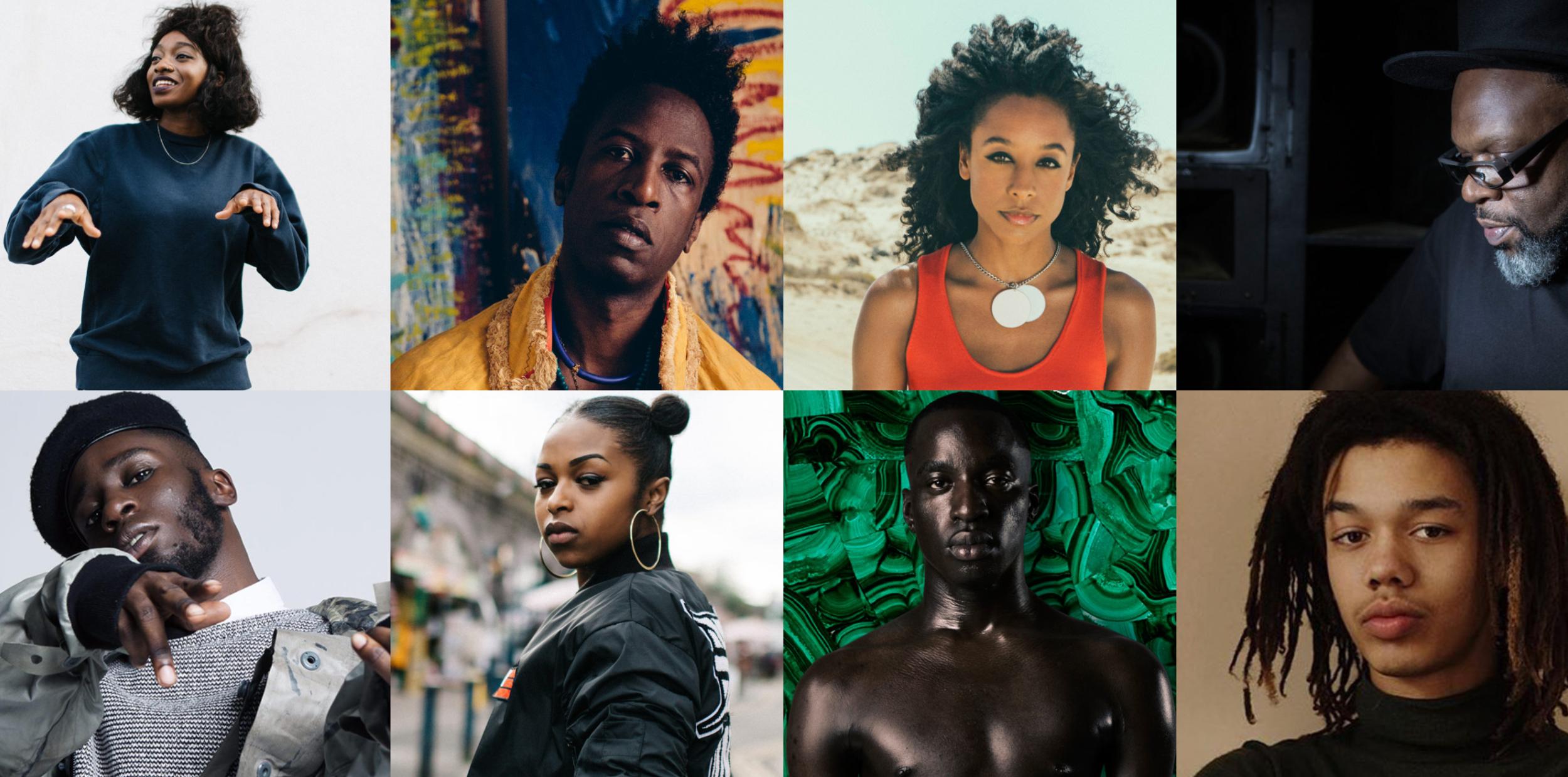 (L2R):  Little Sims;Saul Williams;Corrine Bailey Ray; Jazzie B; Kojey Radical; Nadia Rose; Petite Noir; Cosmo Pyke