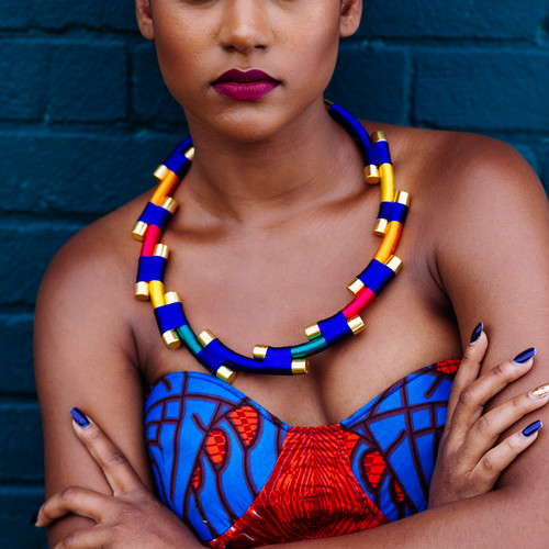 Le Ekhaya. - Le Ekhaya meaning 'back home' in Ndebele (Zimbabwe) is a bold and daring handmade jewellery brand, only using locally sourced materials. Inspired by the Ndebele tribe in South Africa, known for their distinctive aztec-like patterns and colour aesthetics, the brand uses vibrant colours to create intricate and innovative designs, with each piece creating a bold and unique statement for the woman wearing it.