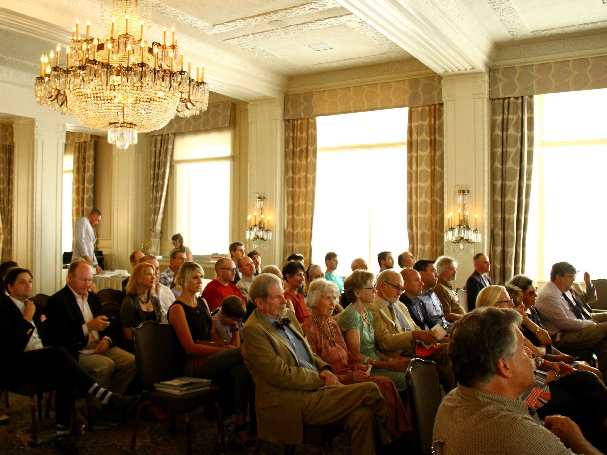 The rapt crowd at the late-summer lecture.