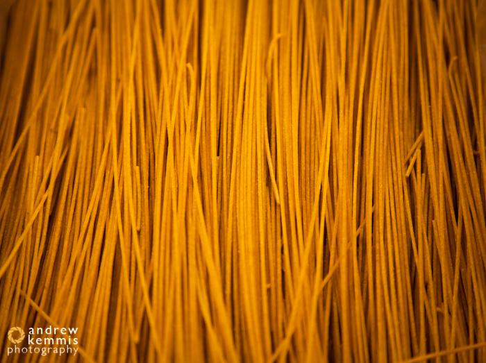 Fresh, organic spaghetti noodles.
