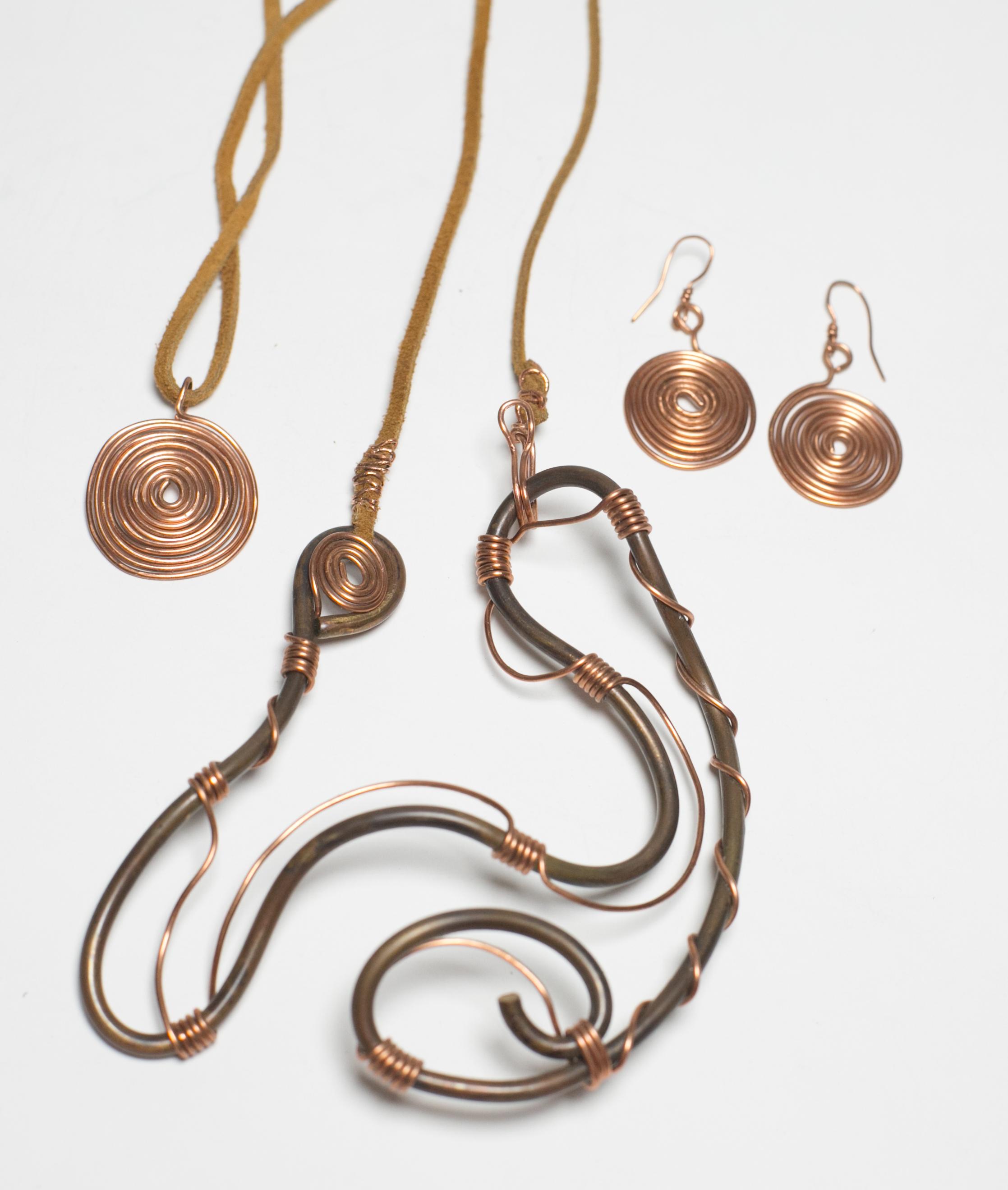Benin Family Necklace Set; Coil Pendant Set