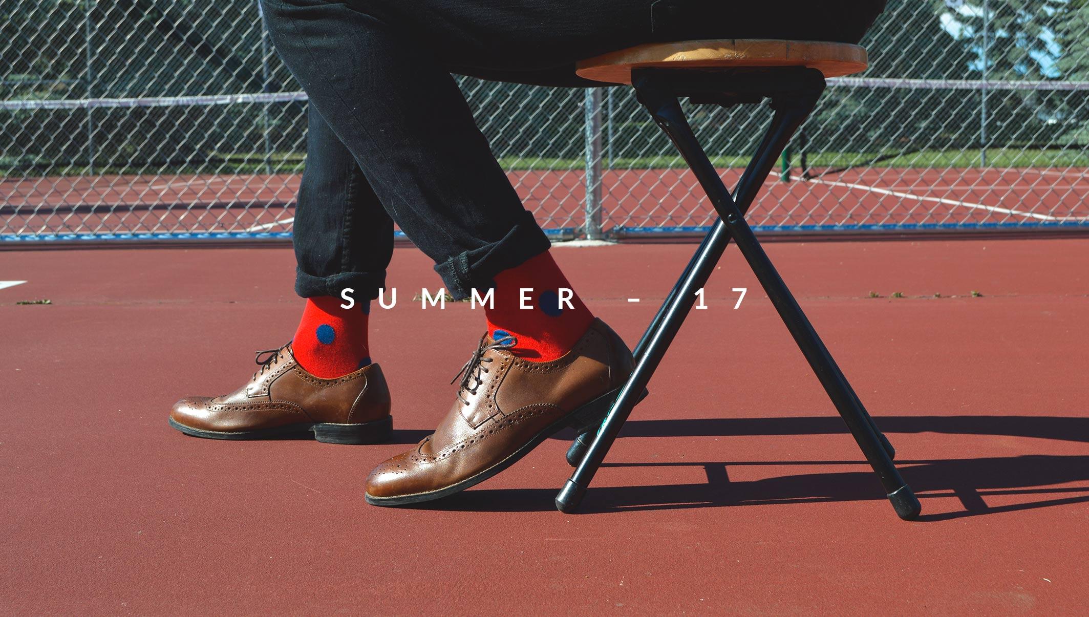 Mens Red and Blue Polka Dot Socks | Urban Drawer
