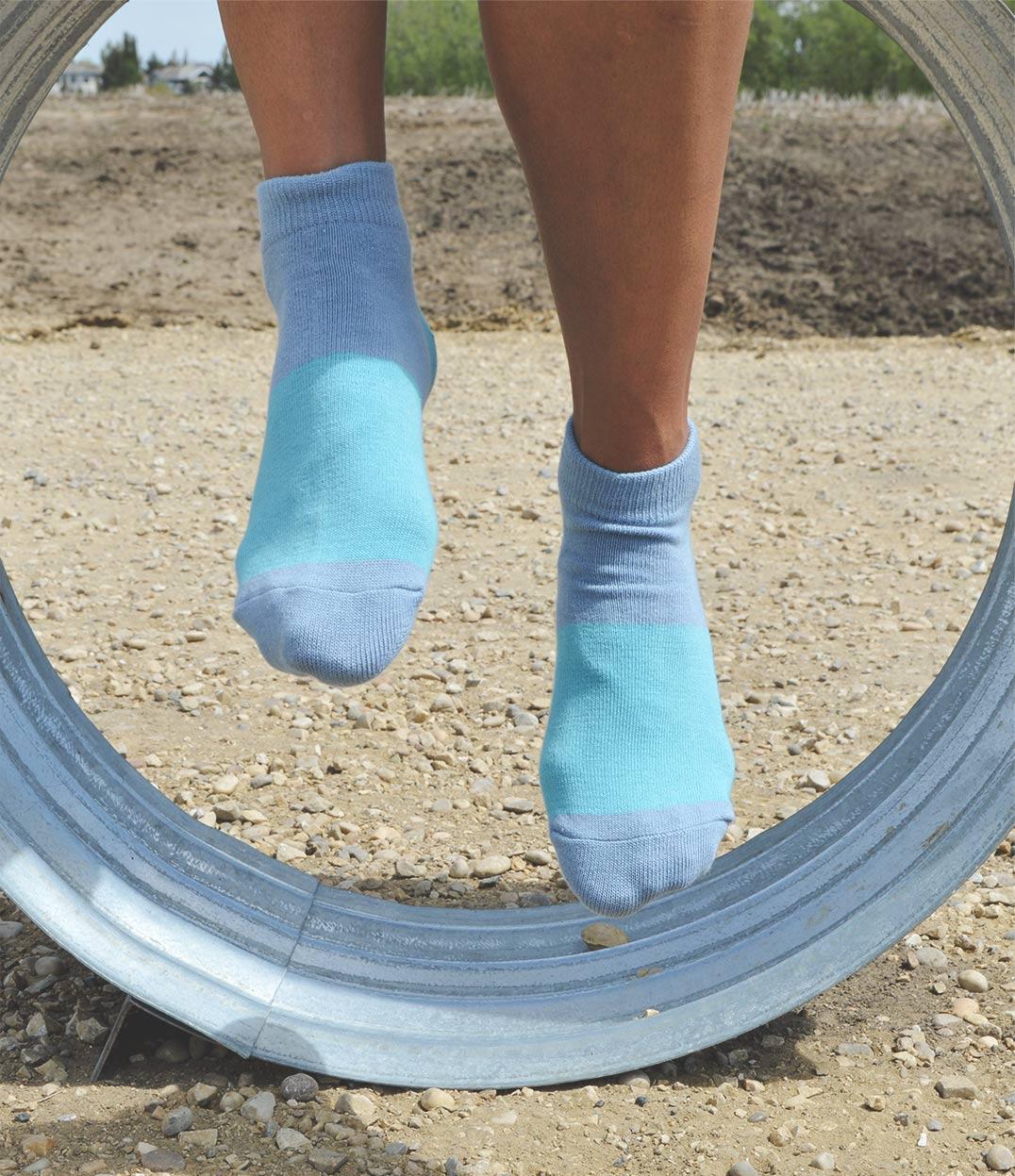Unisex Blue Color BlockAnkle Socks | Urban Drawer