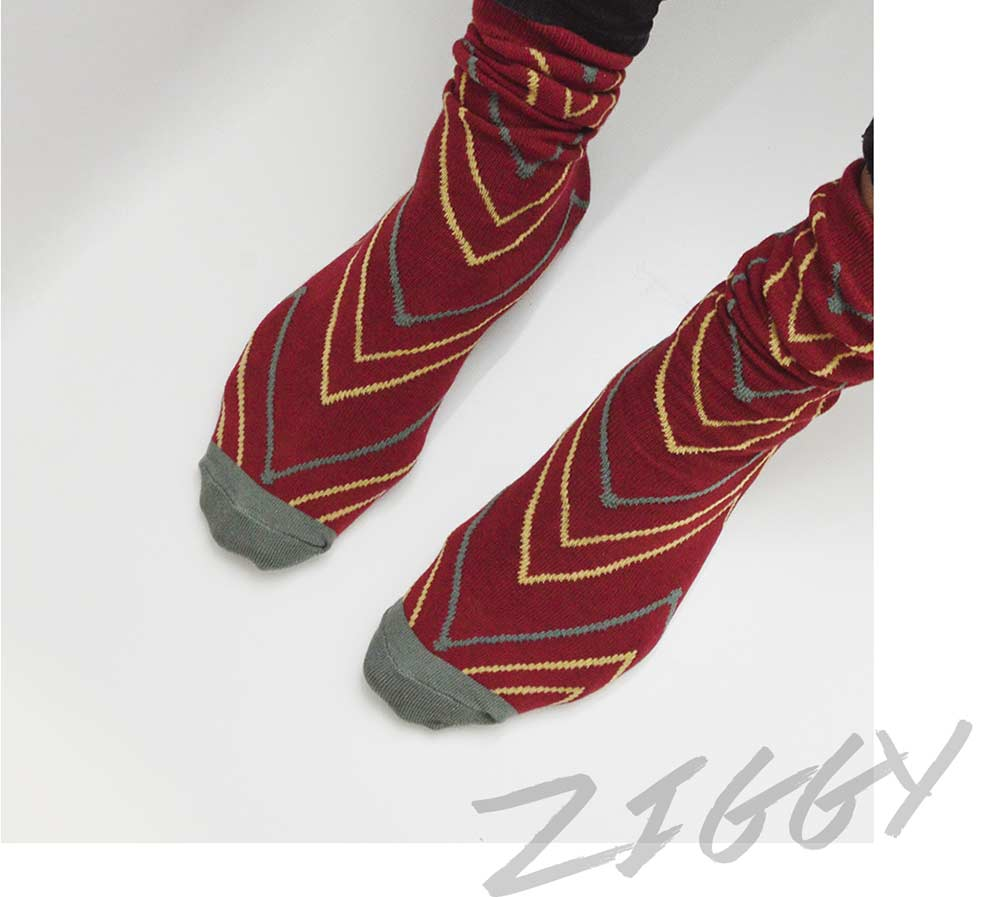 Red and Yellow Lined Crew Socks | Urban Drawer