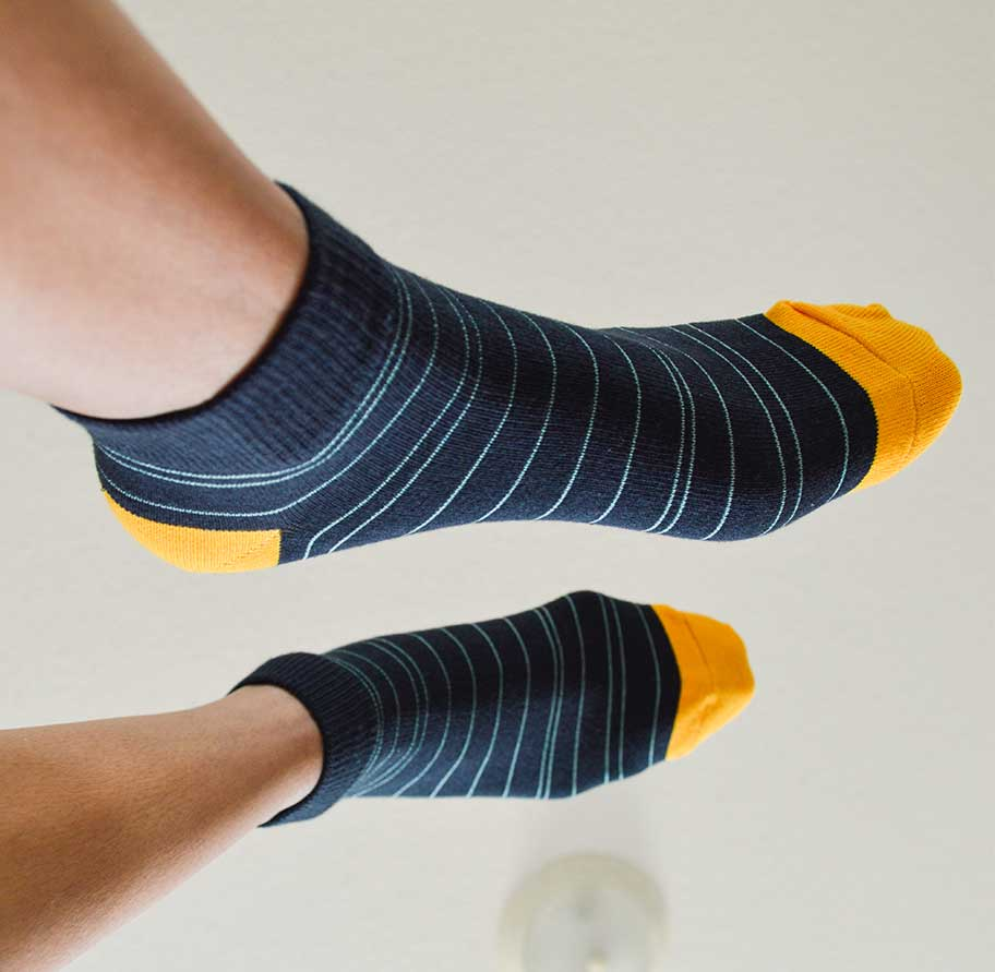 Blue  and Yellow Stripe Ankle Socks | Urban Drawer