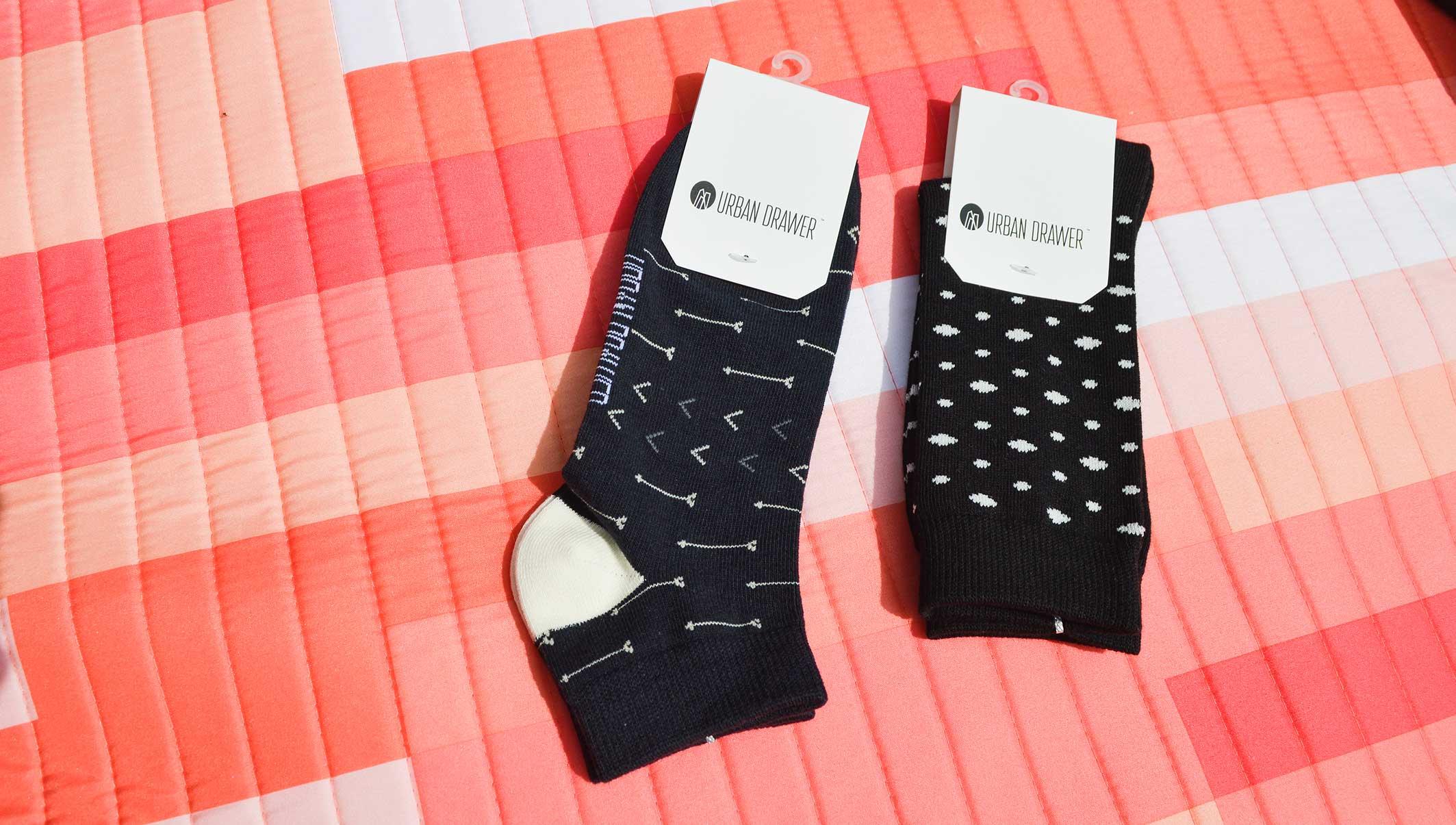 Unisex black and white socks | Urban Drawer