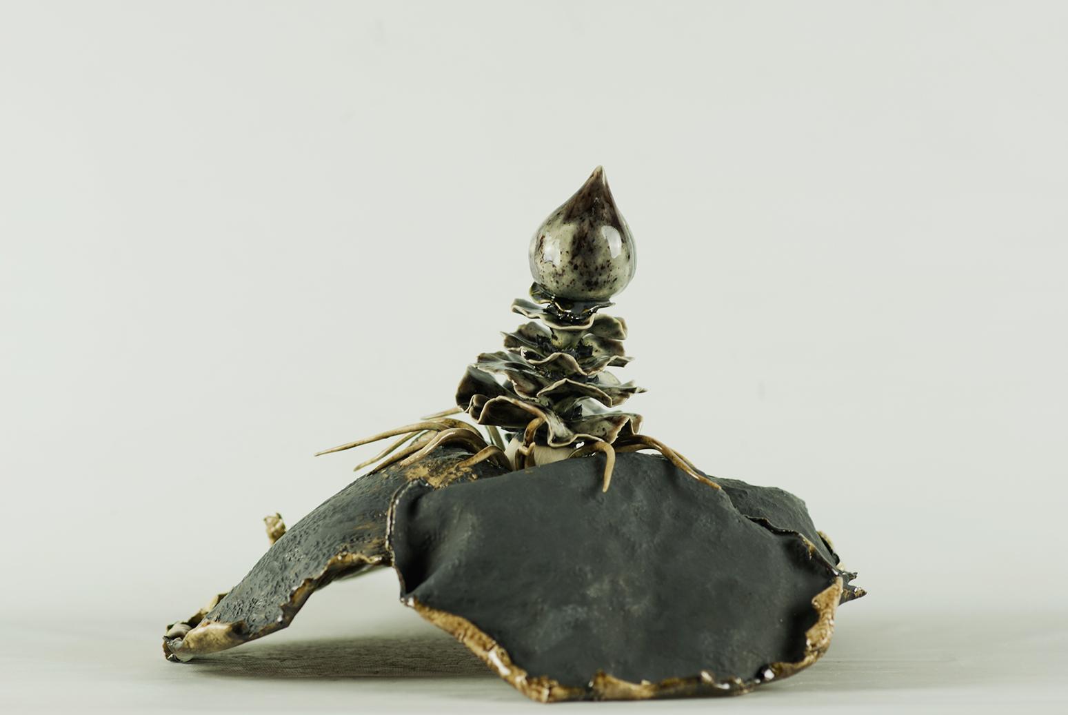 Viola, 2014, Glazed stoneware ceramic, polyester resin, nylon flocking