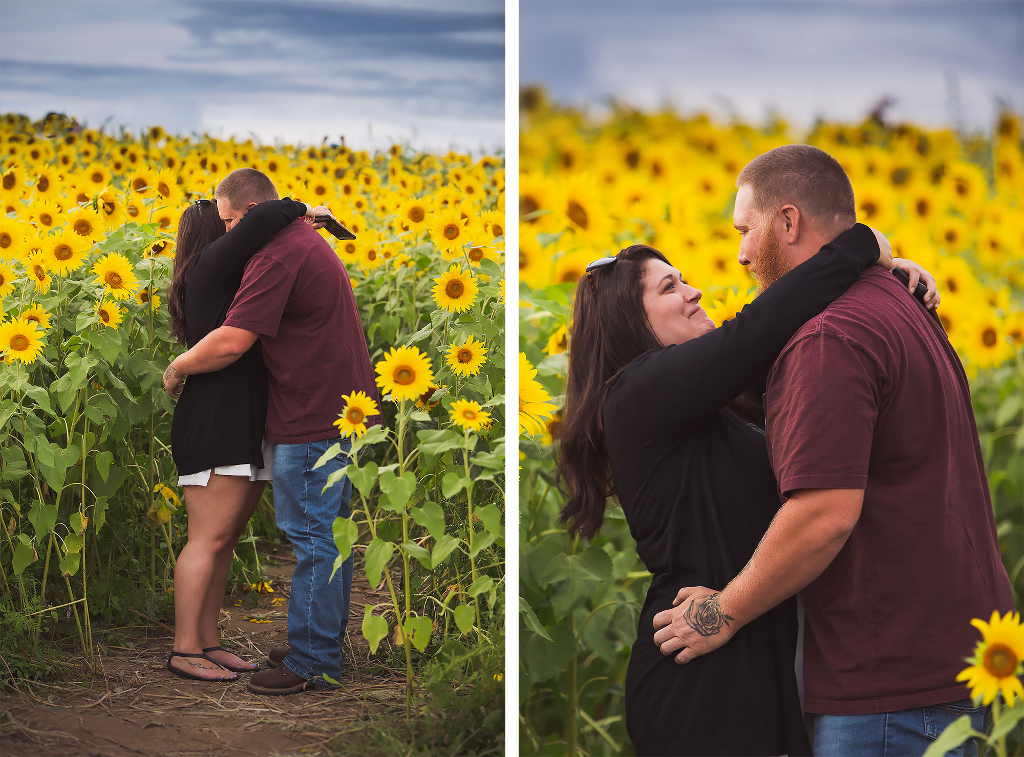 Colby Farm Sunflower Engagement Proposal | Stephen Grant Photography