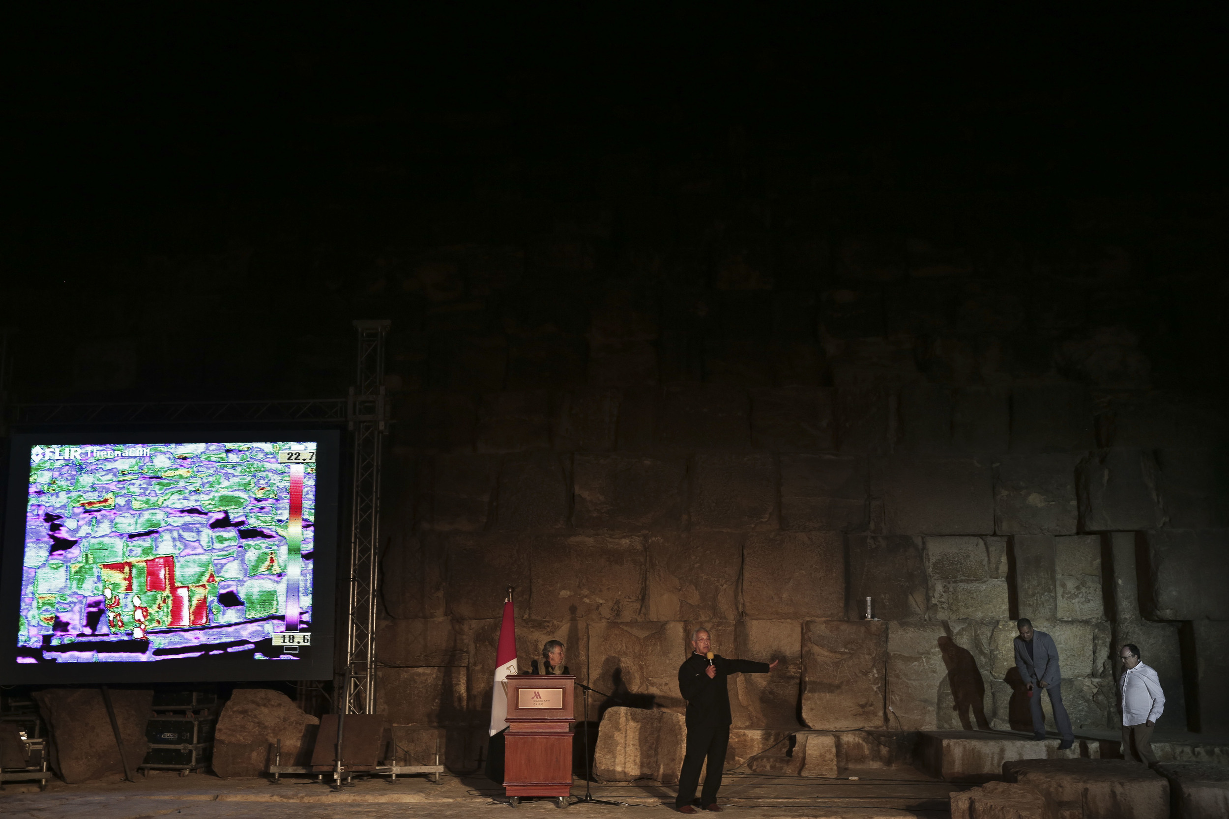 The Press Conference. French architect Jean-Pierre Houdin, right, and Egypt's Antiquities Minister Mamdouh el-Damaty, stand near the limestone rocks that may hide some sort of void behind.Photo: Nariman el-Mofty.