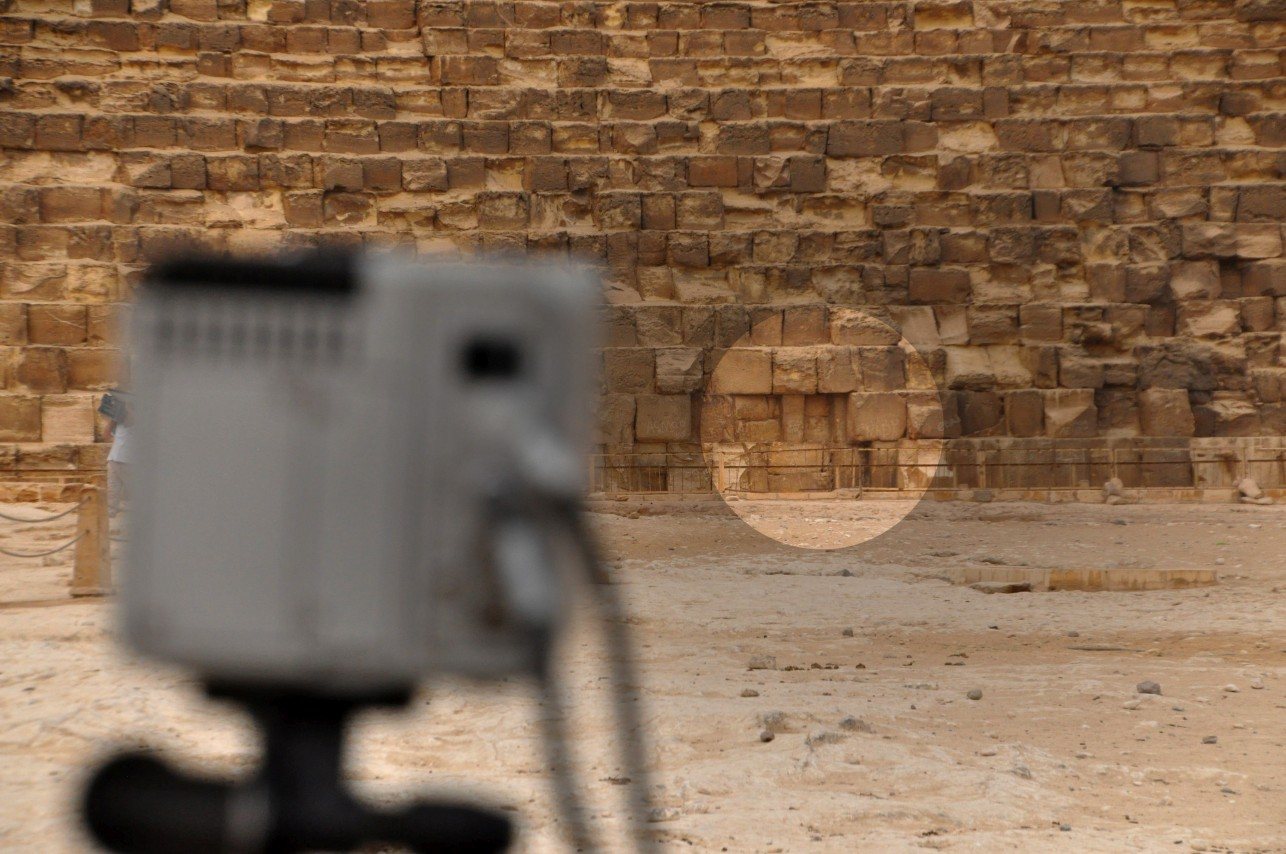A thermal camera points at the east face of Khufu's Great Pyramid at Giza. Photo: Philippe Bourseiller.