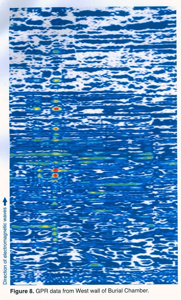 Can you read radar? This is the data that radar experts interpret to arrive at their conclusions. Apparently this radar scan of the west wall of Tutankhamun's tomb suggests the presence of a chamber, as well as artefacts that they think may be organic. Nicholas Reeves believes this chamber is a storage chamber contemporary with Tutankhamun's burial. Image: Ministry of Antiquities.