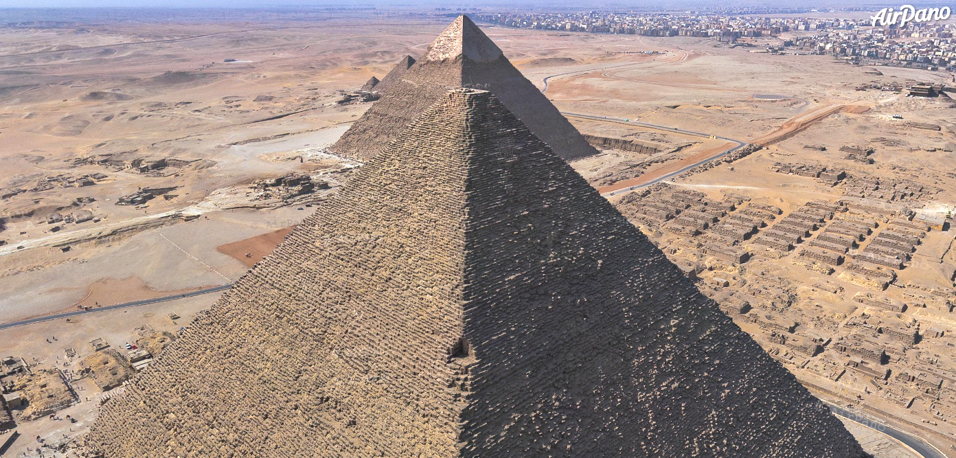 Notch N2, high up on the northeast corner of the Great Pyramid of Giza. Photo: AirPano.