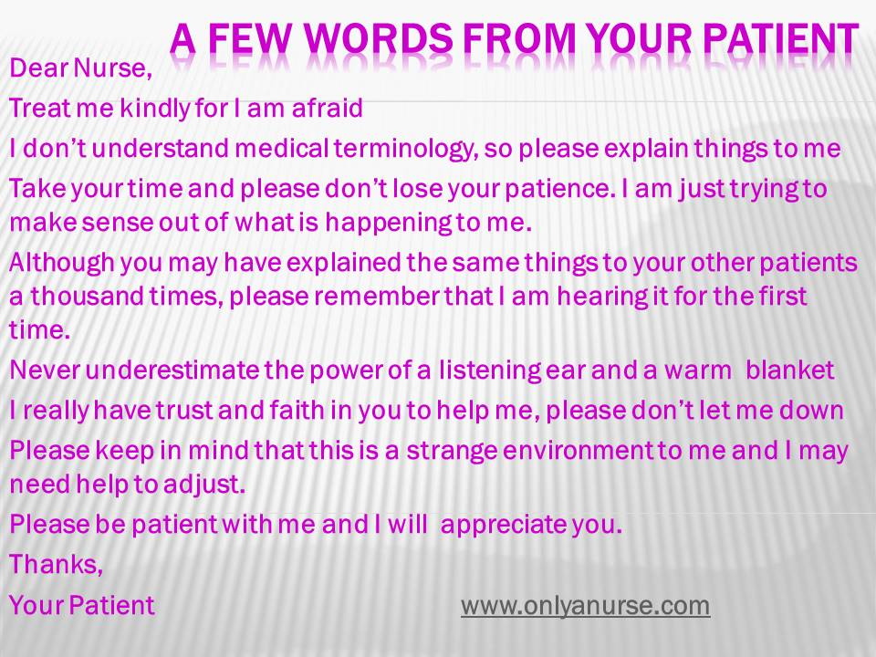 A letter from your patient, onlyanurse.com